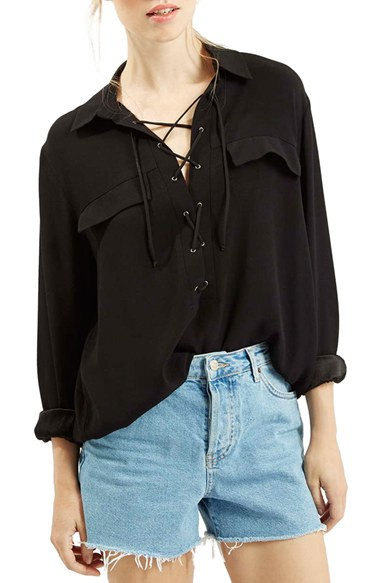 Topshop Lace-up Oversize Blouse in Black | Lyst