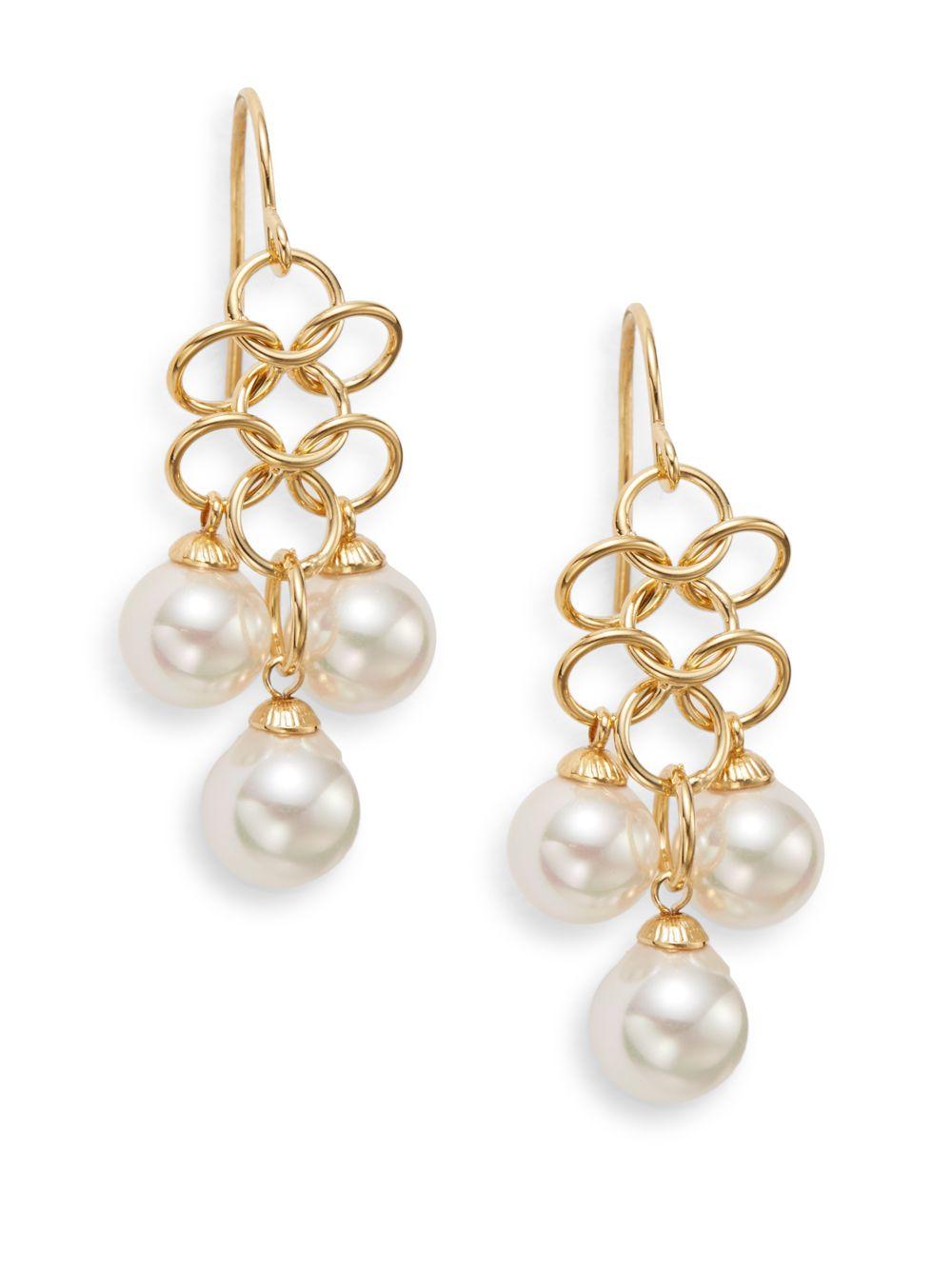 7mm pearl earrings : Majorica mm white pearl mesh drop earrings in