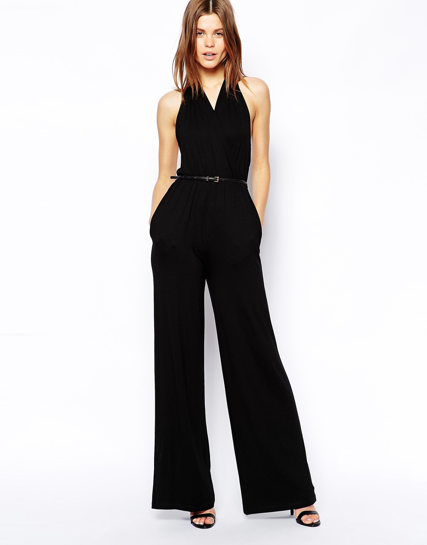 Asos Halter Neck Jumpsuit In Wide Leg in Black