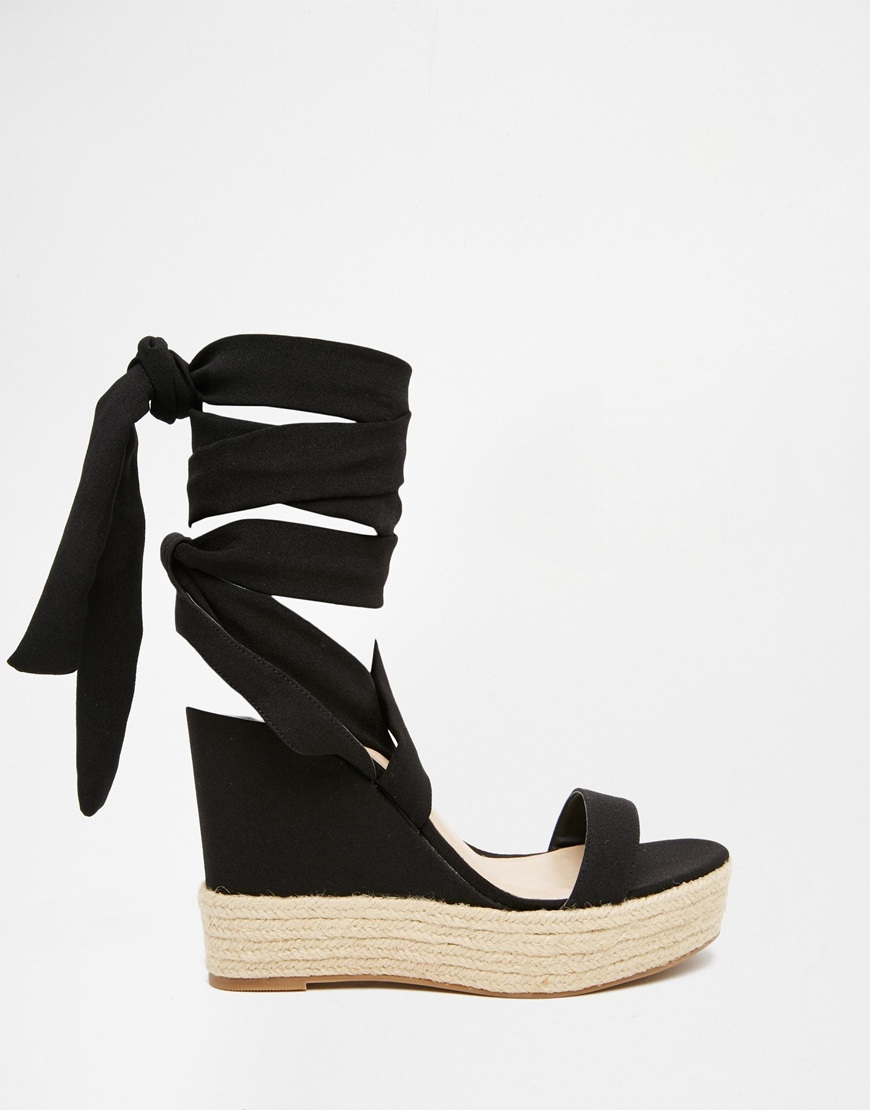 d463f61889c ASOS Tornado Lace Up Wedges in Black - Lyst