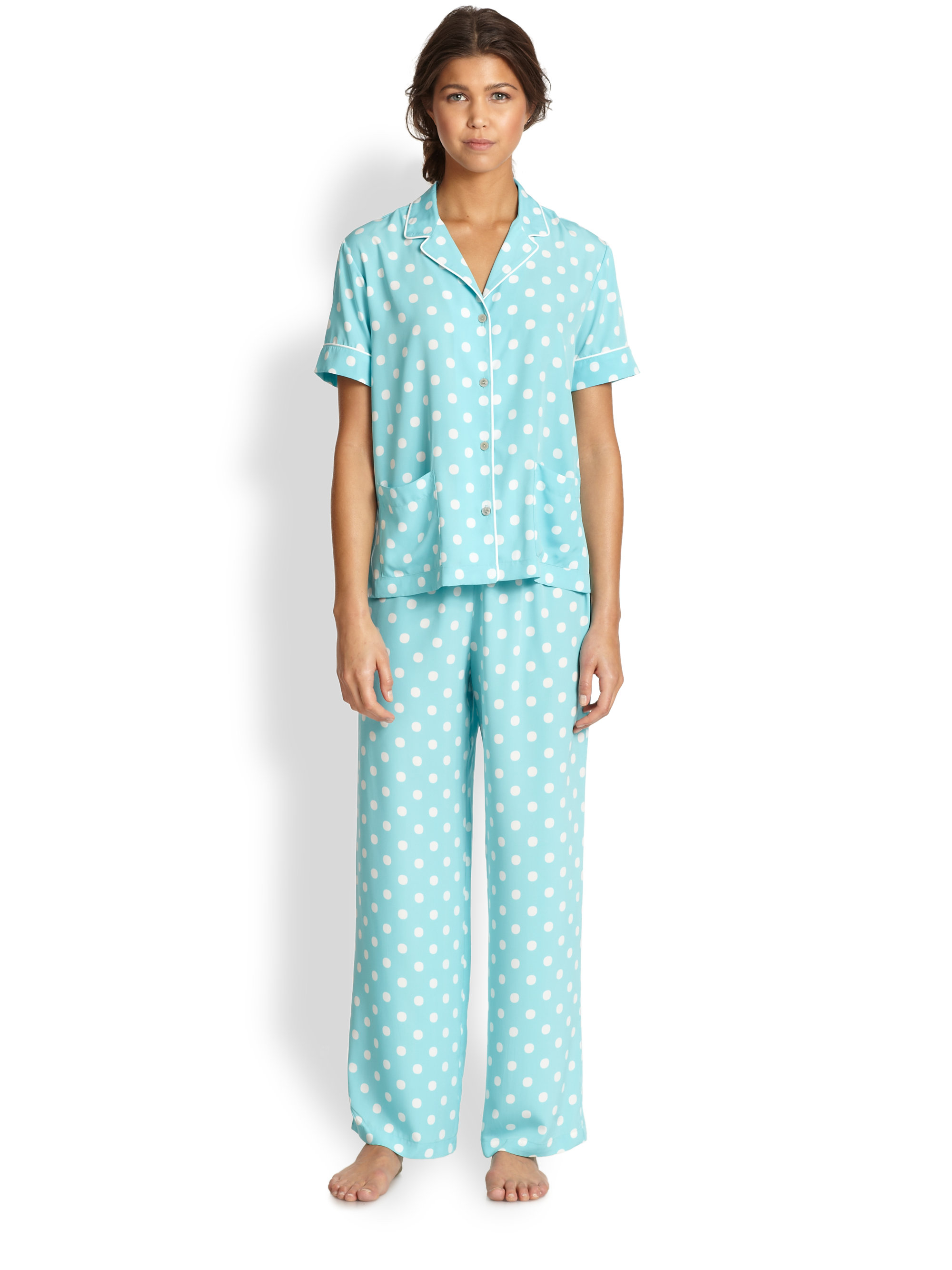 Women's Capri PJ Set by Blair, Pink, Size M. Short V-Neck Sleepwear & Loungewear by Blair. Comes in Pink, Size M. The sleepwear set you dream about. Top has V-shaped neckline plus a button front. Short sleeves with satin and picot trim. Lace and embroidery trim bottom hem.