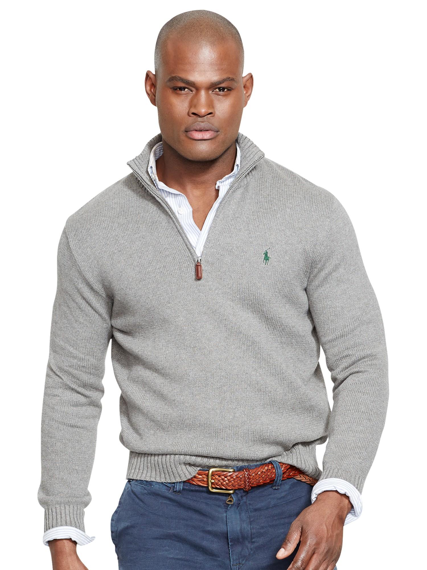 30ee1b512849 Polo Ralph Lauren Half Zip Cotton Jumper in Gray for Men - Lyst