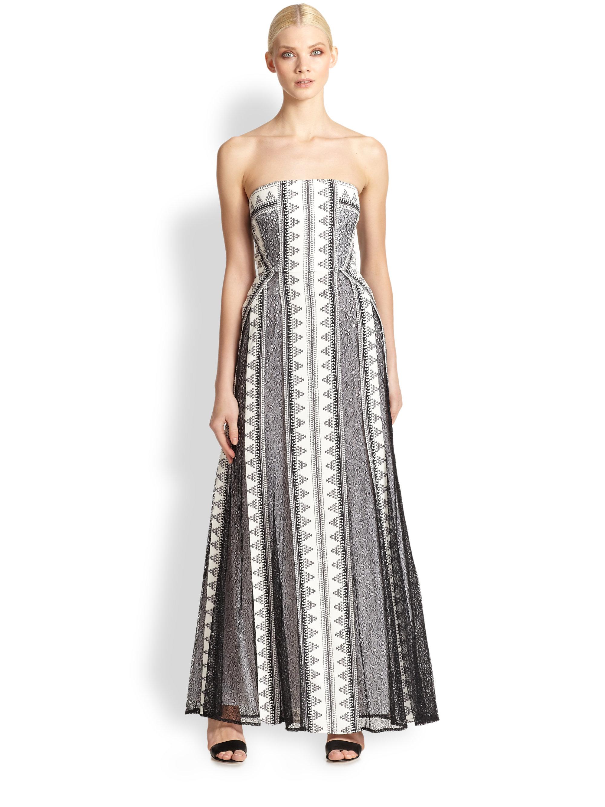 Lyst - Bcbgmaxazria Kia Lace Overlay Strapless Gown in White