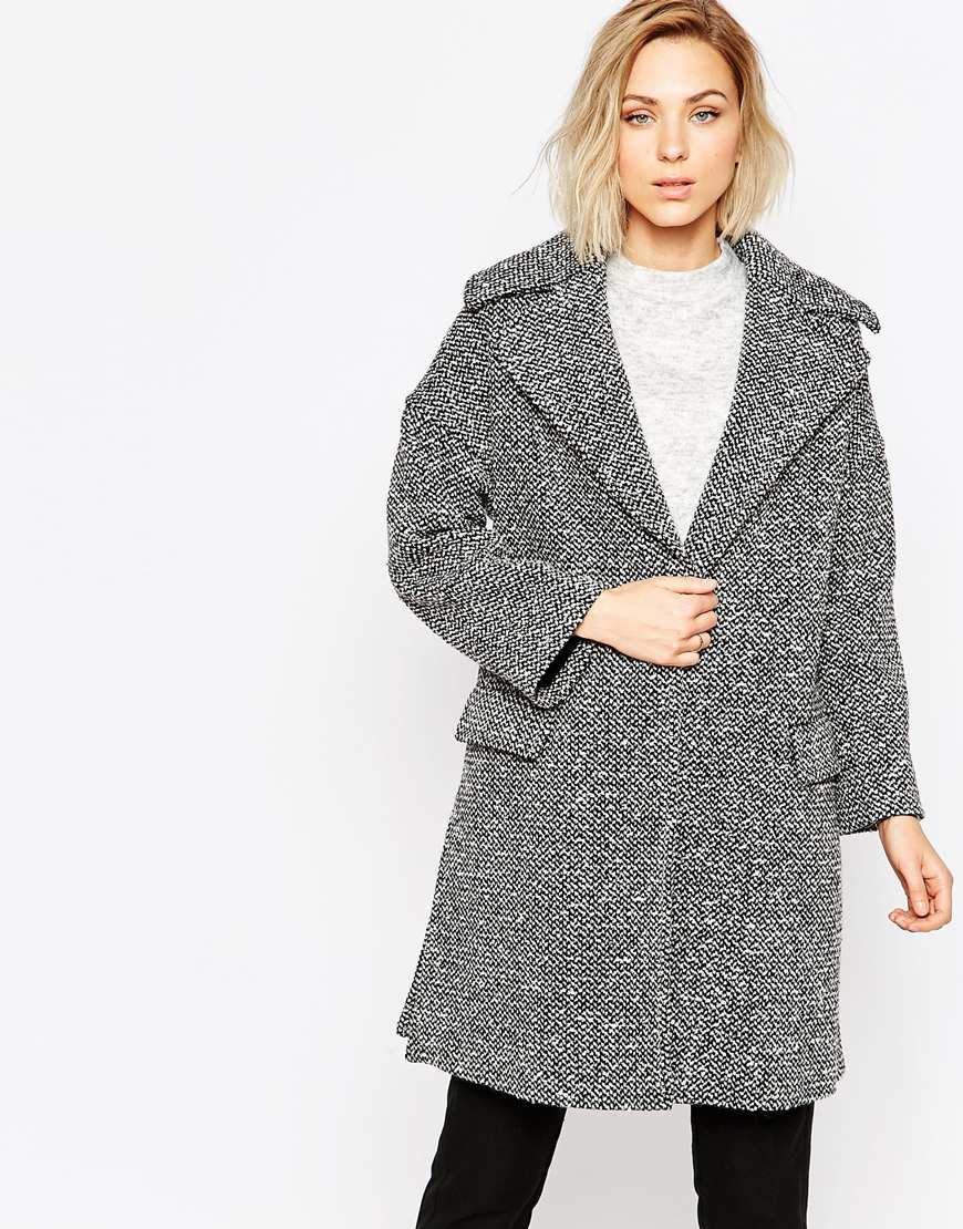 Lyst Helene Berman Large Collar Black And White Tweed