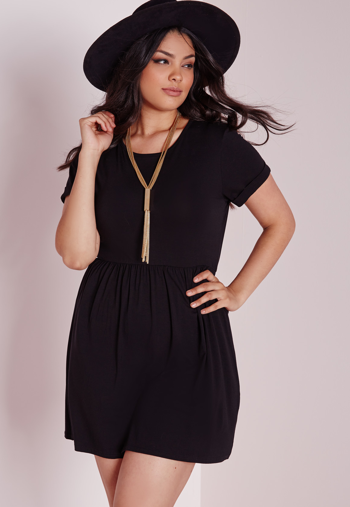 Missguided Plus Size Jersey T-shirt Skater Dress Black in Black | Lyst