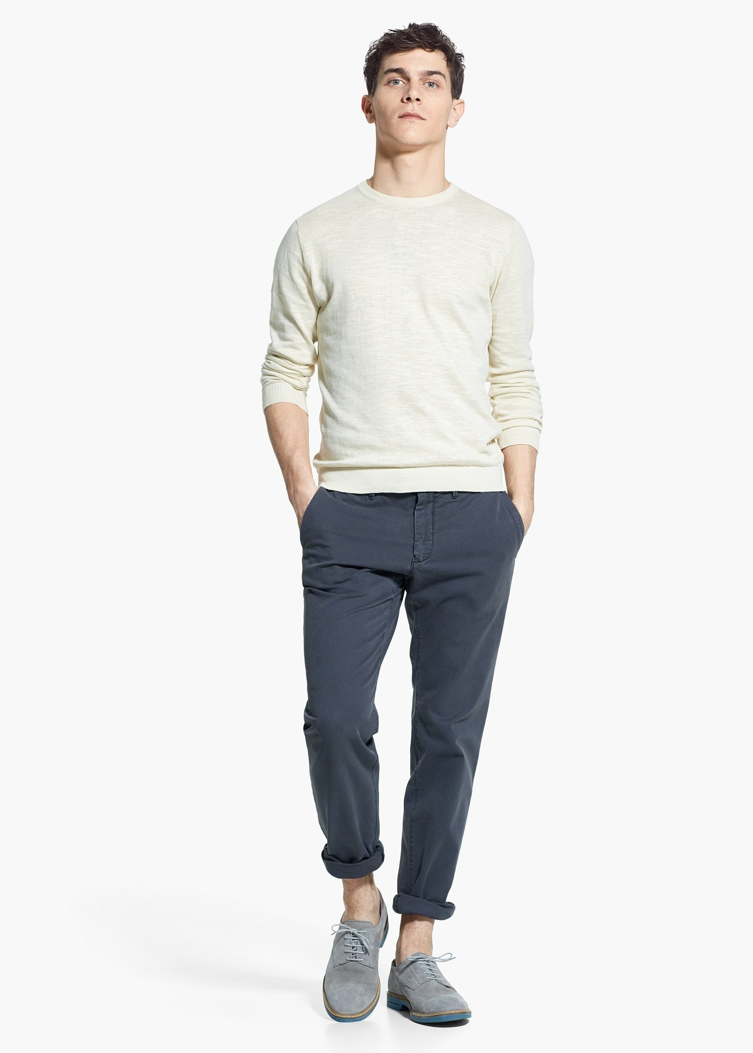 b92060982d9b Lyst - Mango Fine-Knit Cotton Sweater in Natural for Men
