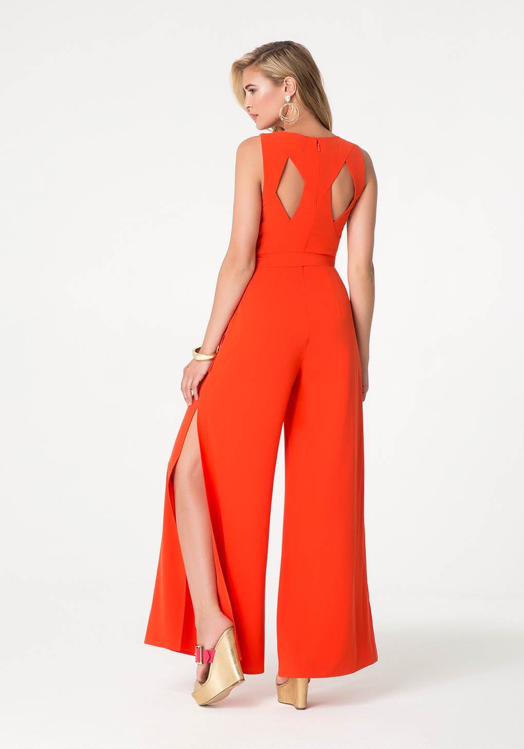Bebe Cutout Back Jumpsuit in Red | Lyst