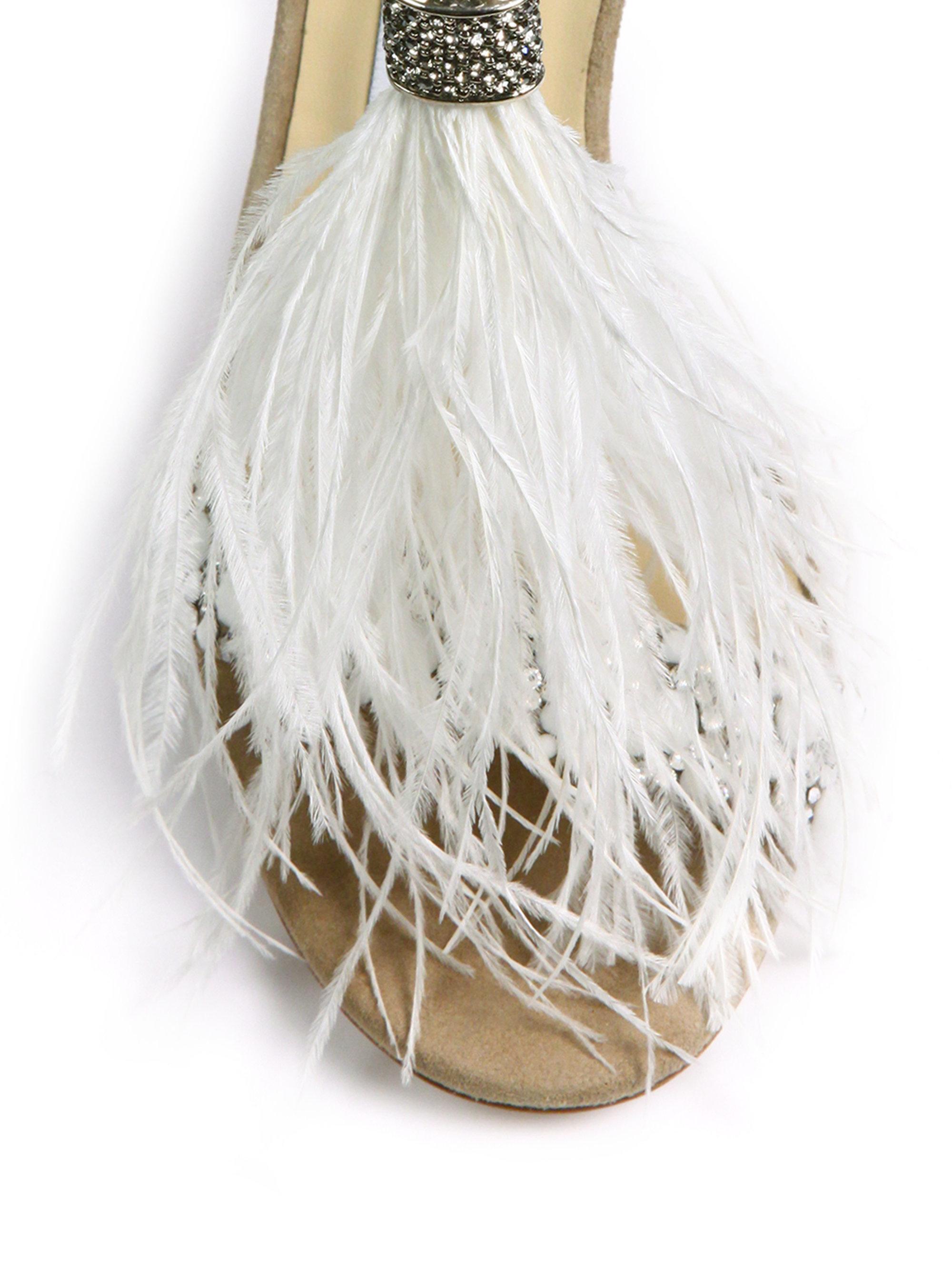 lyst jimmy choo viola 110 embellished suede feather