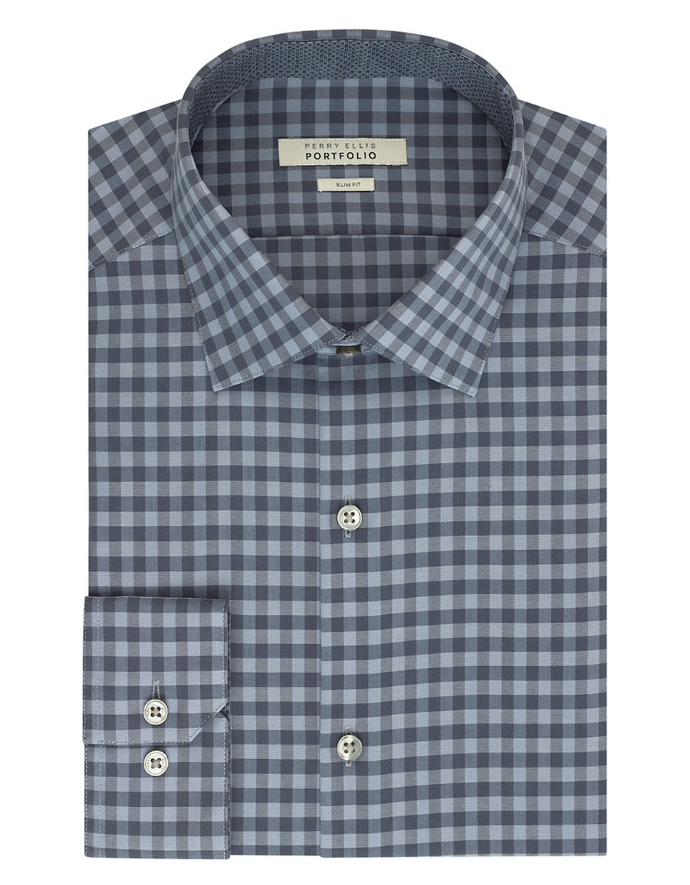 Lyst perry ellis slim fit gingham check dress shirt in for Slim fit gingham check shirt