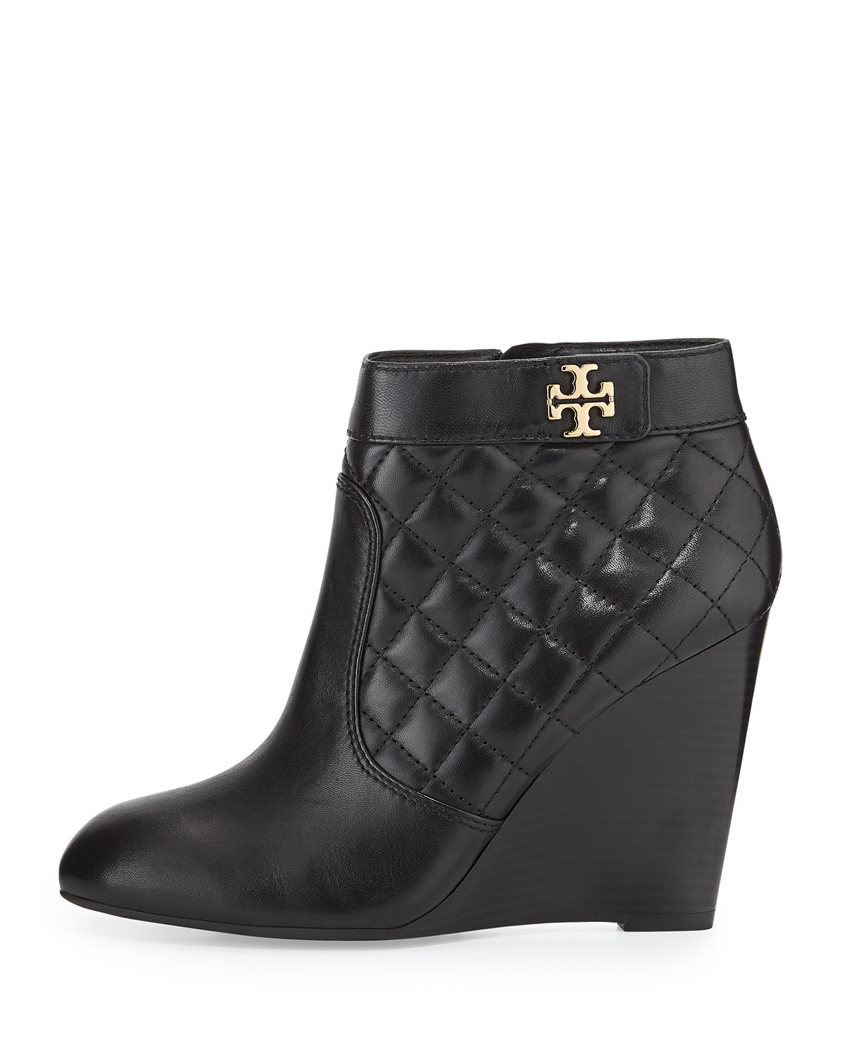 101d9b48d68b27 Lyst - Tory Burch Leila Quilted Wedge Bootie in Black