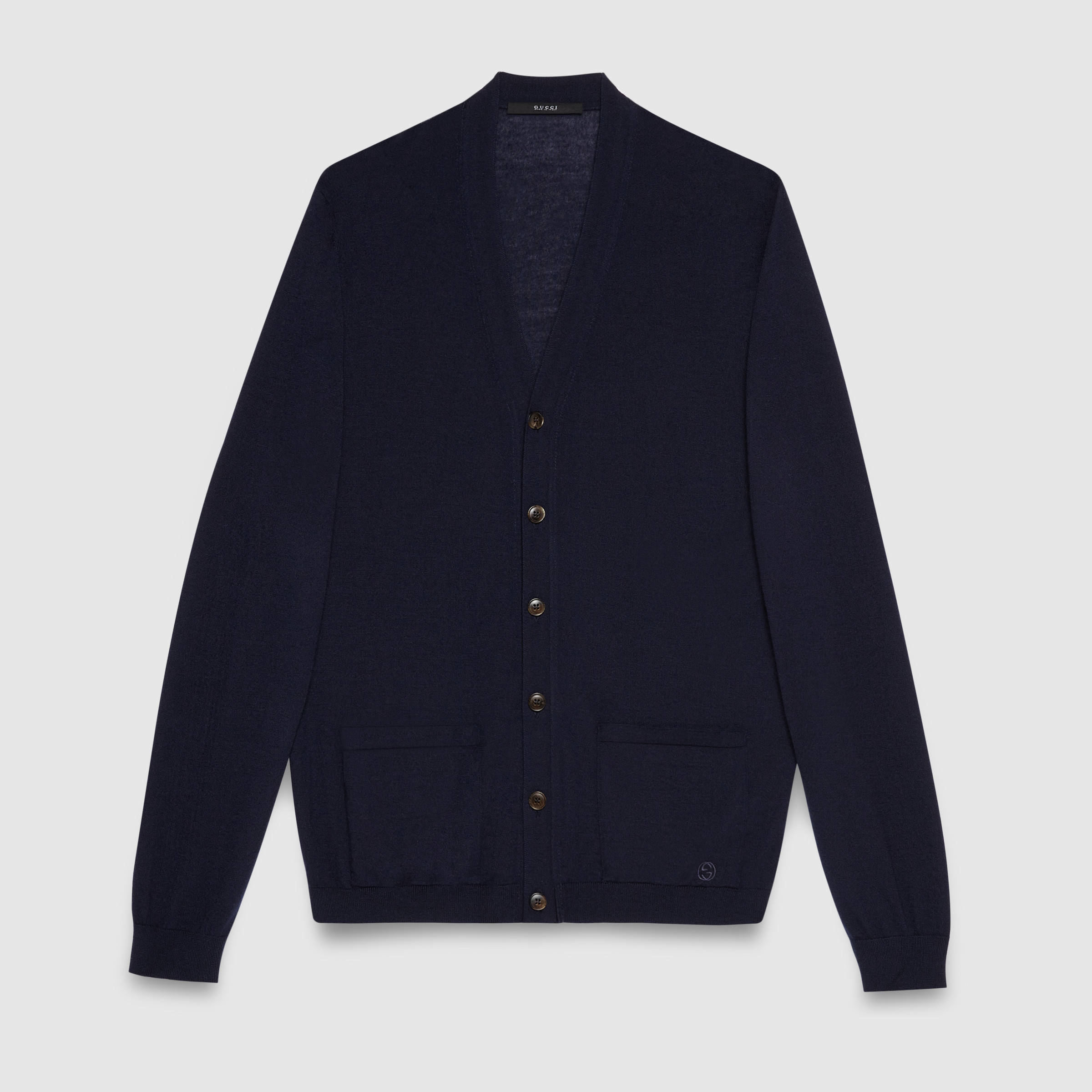 Gucci Cashmere Cardigan Sweater in Blue for Men | Lyst