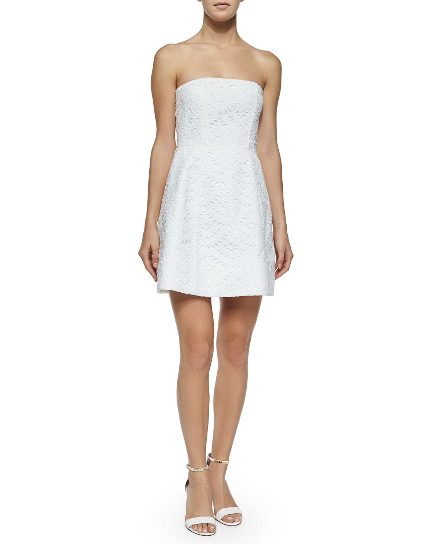 Alice   olivia Strapless Eyelet Dress in White - Lyst