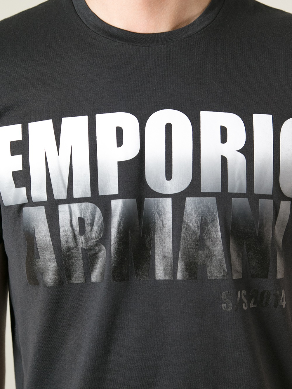 Lyst emporio armani logo t shirt in black for men - Emporio giorgio armani logo ...