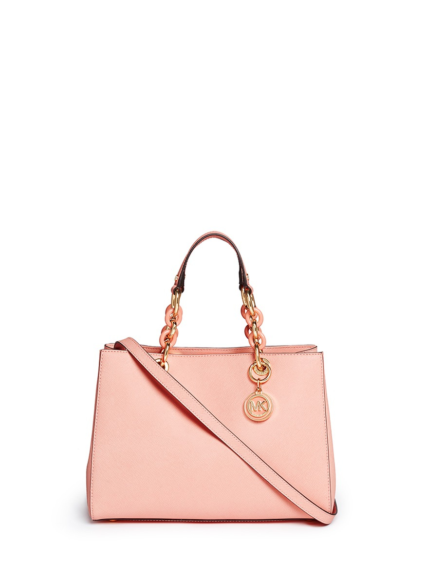 ... Leather Satchel Handbag Dusty Rose Gallery. Previously sold at Lane  Crawford · Womens Michael By Michael Kors Cynthia ... 853f1fa81ff45
