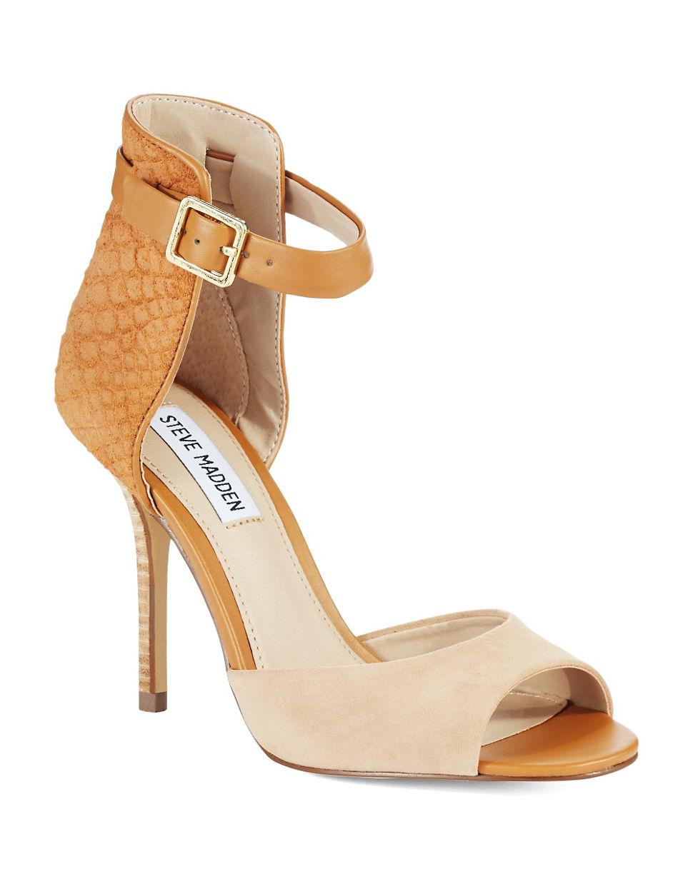 steve madden step out high heel sandals in beige camel. Black Bedroom Furniture Sets. Home Design Ideas