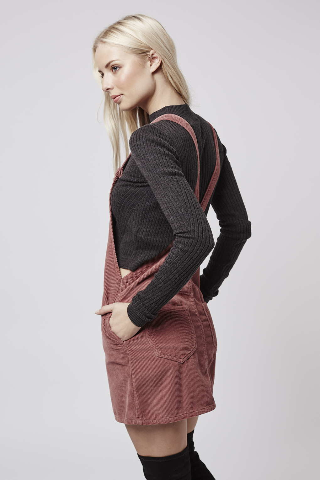 aesthetic appearance on wholesale save off TOPSHOP Denim Moto Dusty Pink Cord Pinafore Dress - Lyst