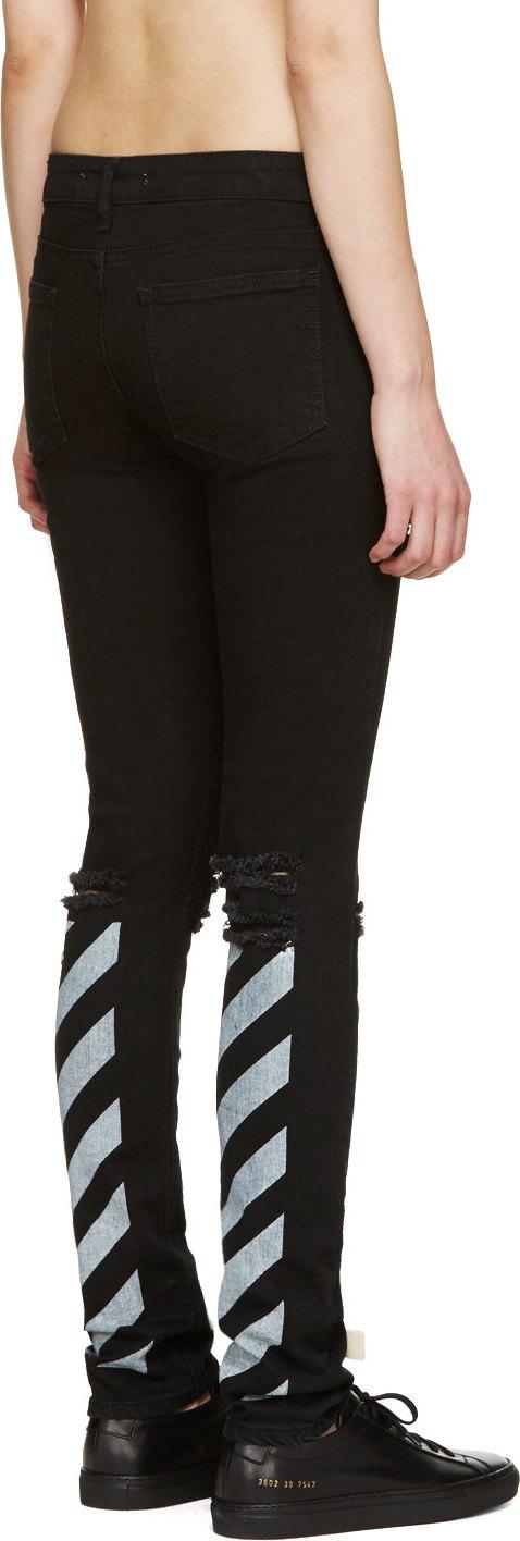 Off-white c/o virgil abloh Black Distressed Skinny Jeans in Black ...