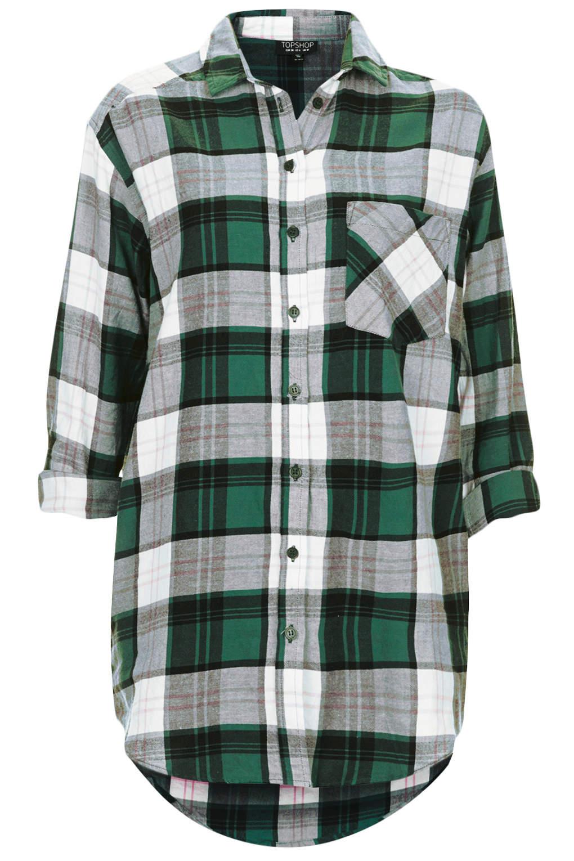 Topshop Oversized Check Shirt Dark in Green | Lyst