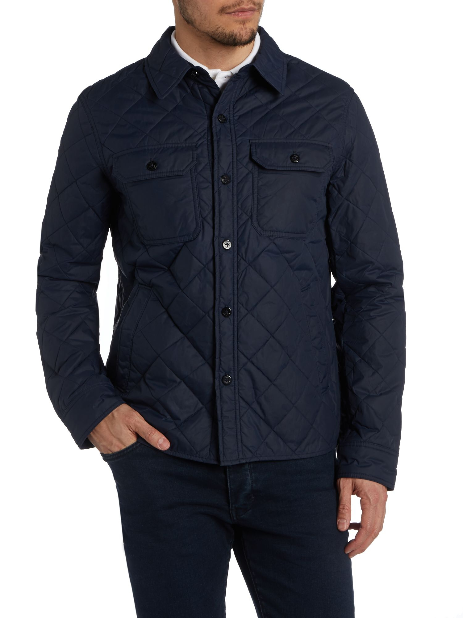 Polo ralph lauren quilted shirt jacket in blue for men for Polo shirt with jacket