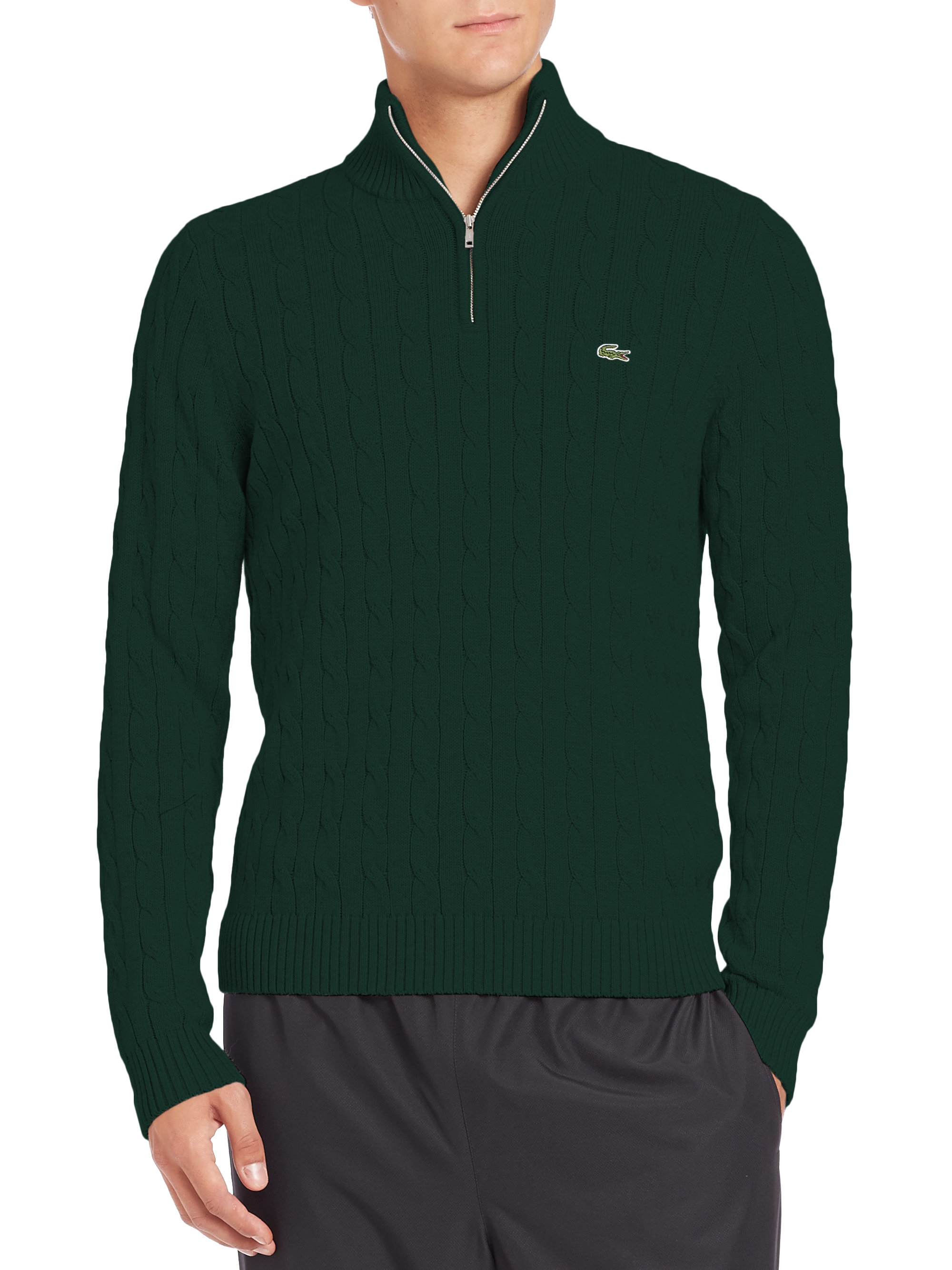 Lacoste Cotton Cable-knit Sweater in Green for Men | Lyst