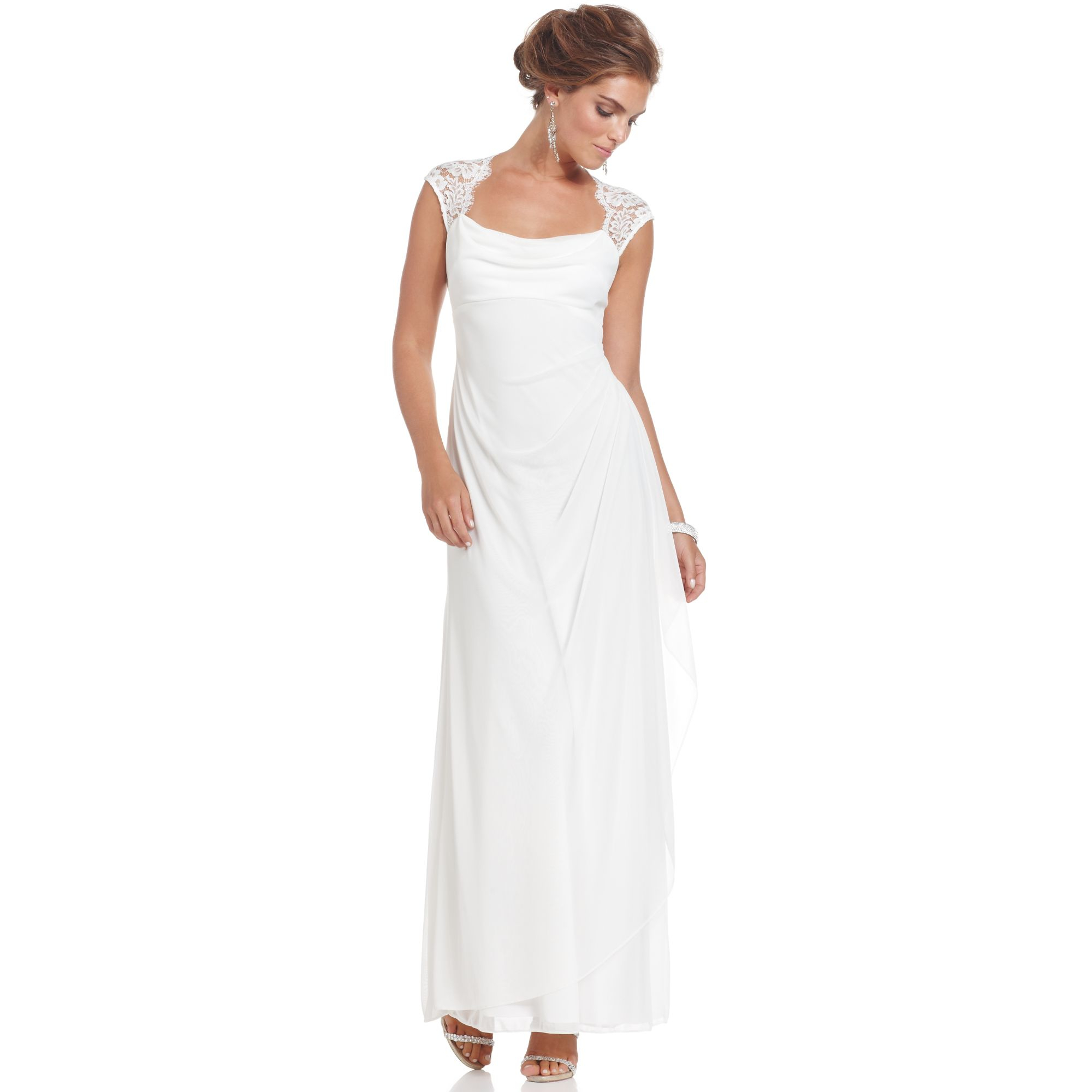 Xscape Cap-Sleeve Lace Gown in White (Ivory)   Lyst