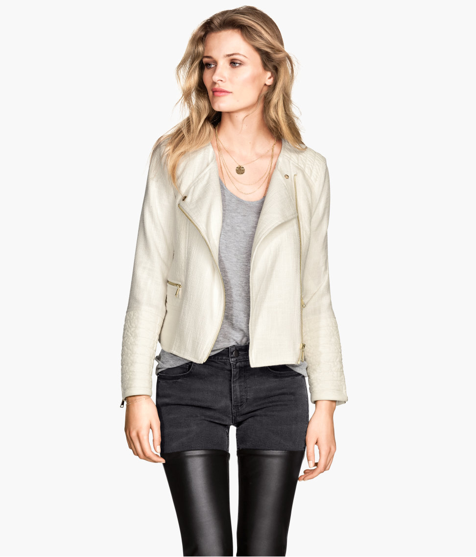 H&m Biker Jacket In A Cotton Mix in Natural | Lyst