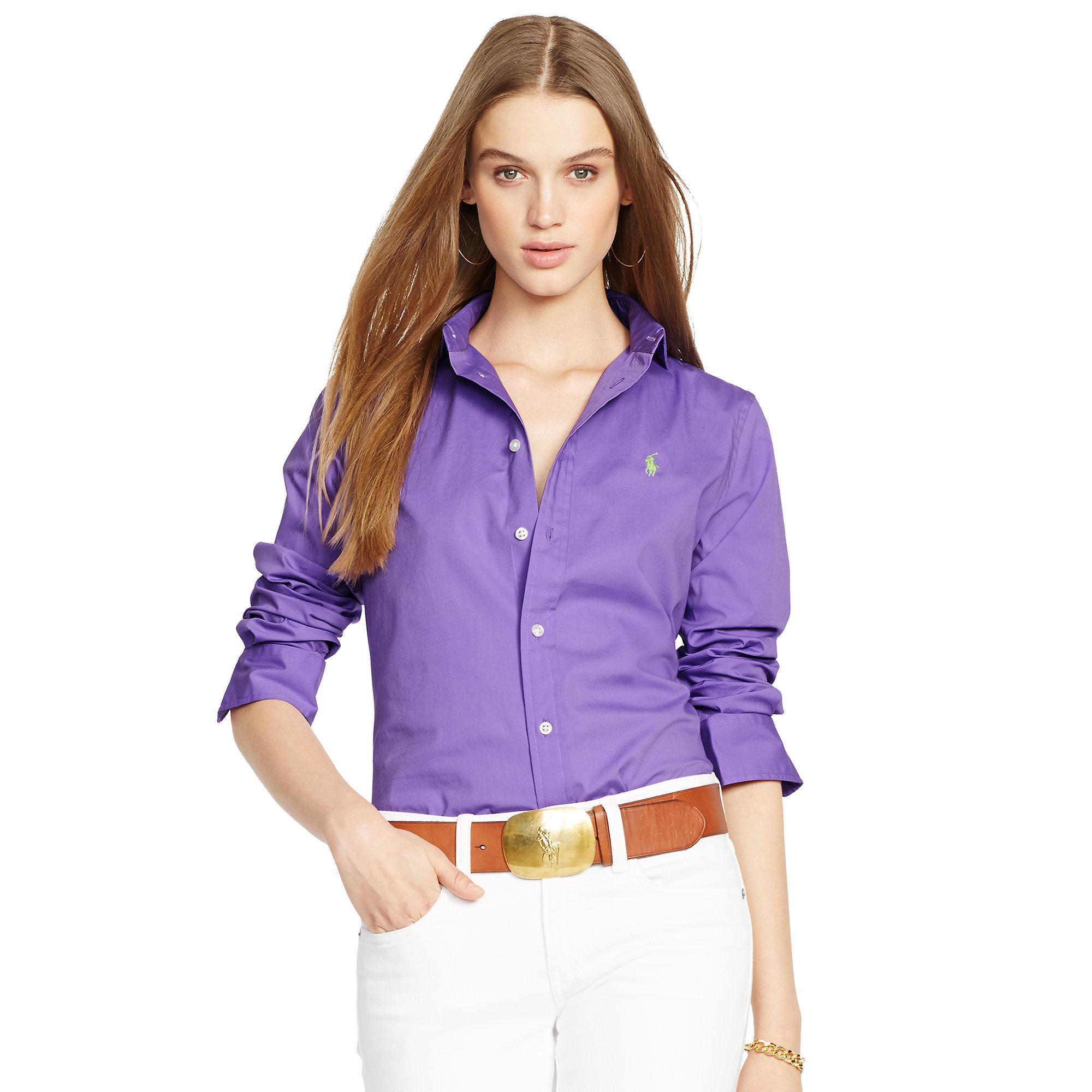 Lyst - Polo Ralph Lauren Slim-Fit Poplin Shirt in Purple 887ccf479