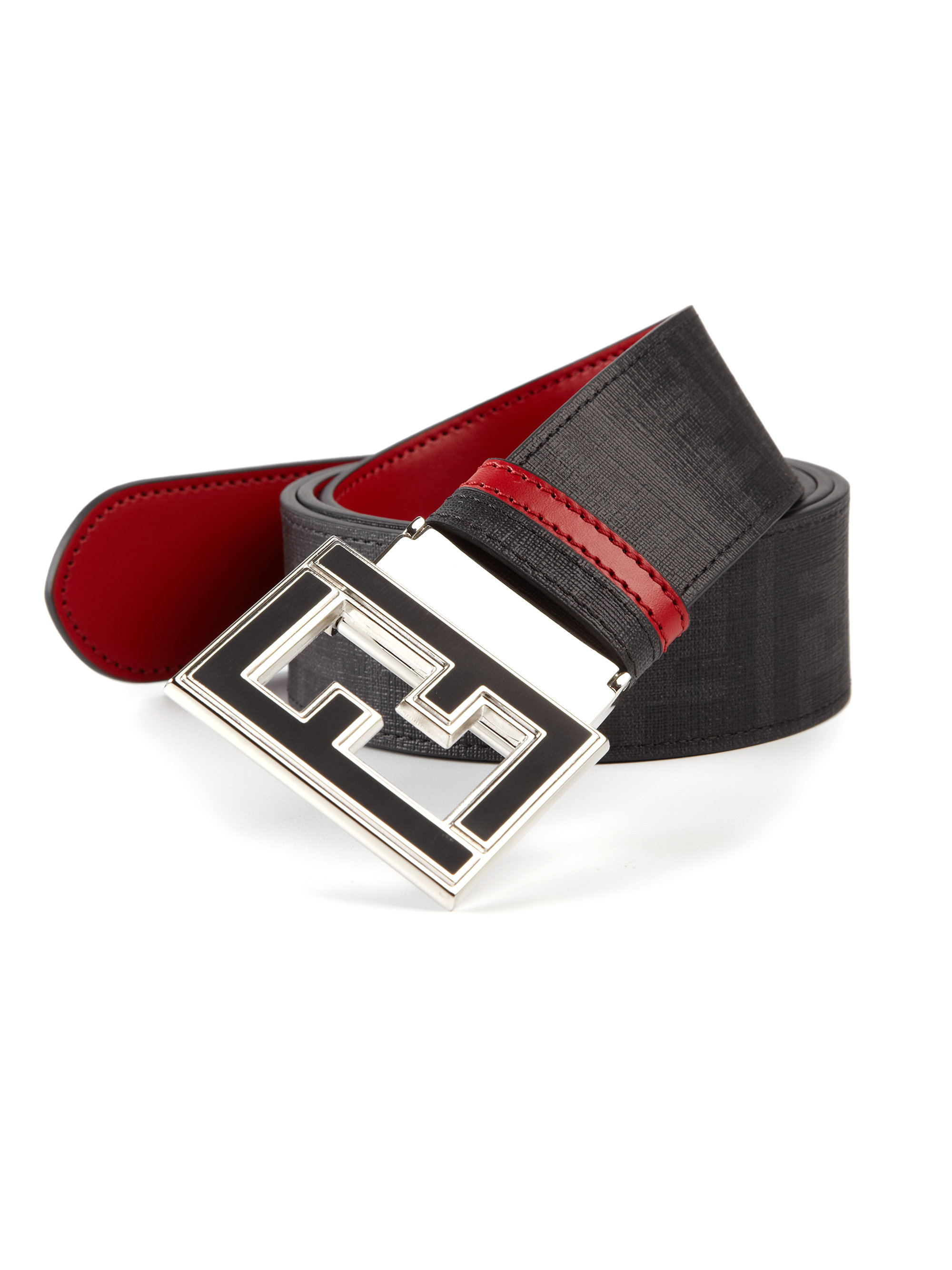 lyst fendi logo college belt in black for men