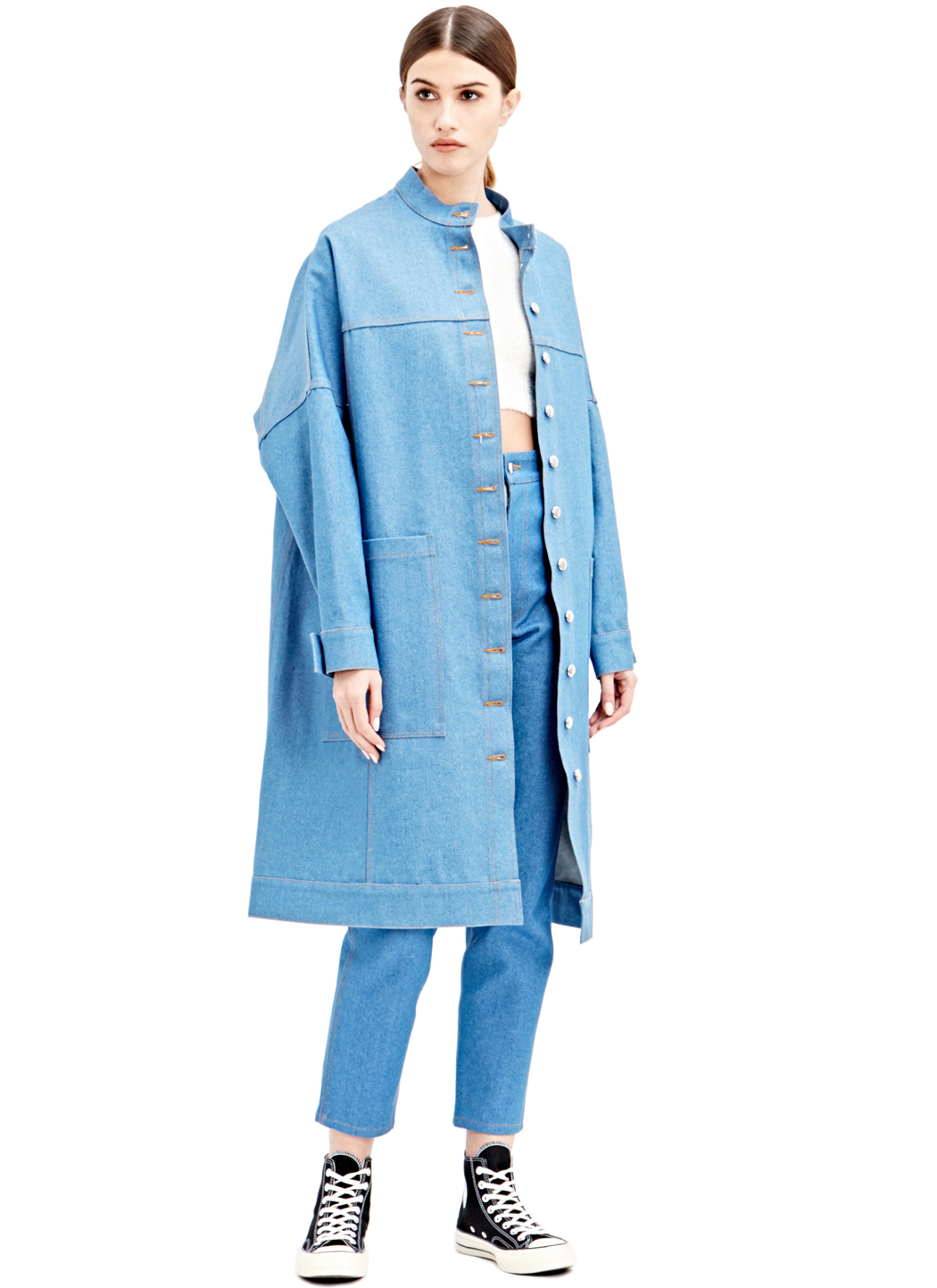 Eckhaus latta Oversized Denim Coat in Blue | Lyst