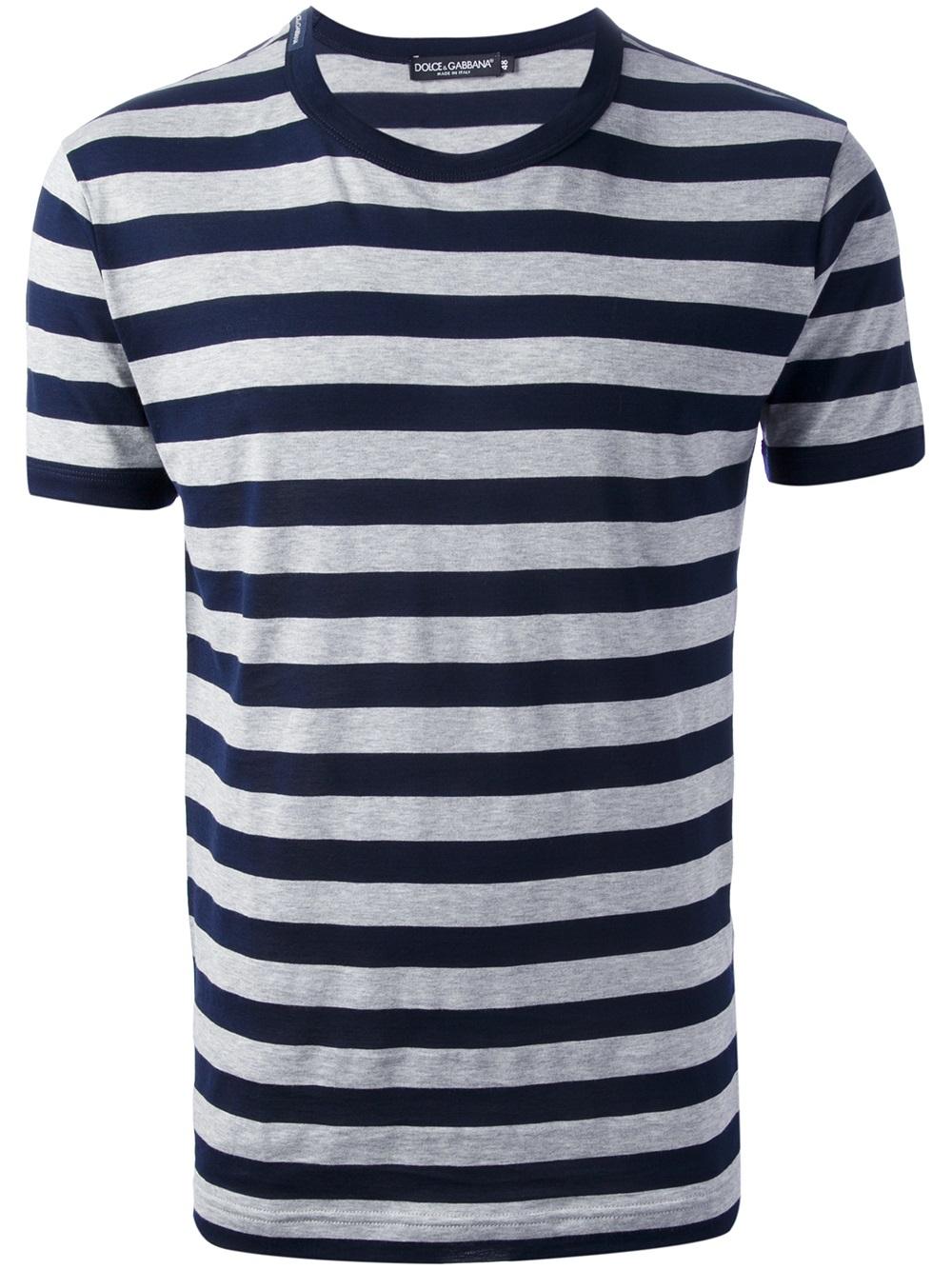 d28727c4 Dolce & Gabbana Striped Tshirt in Blue for Men - Lyst