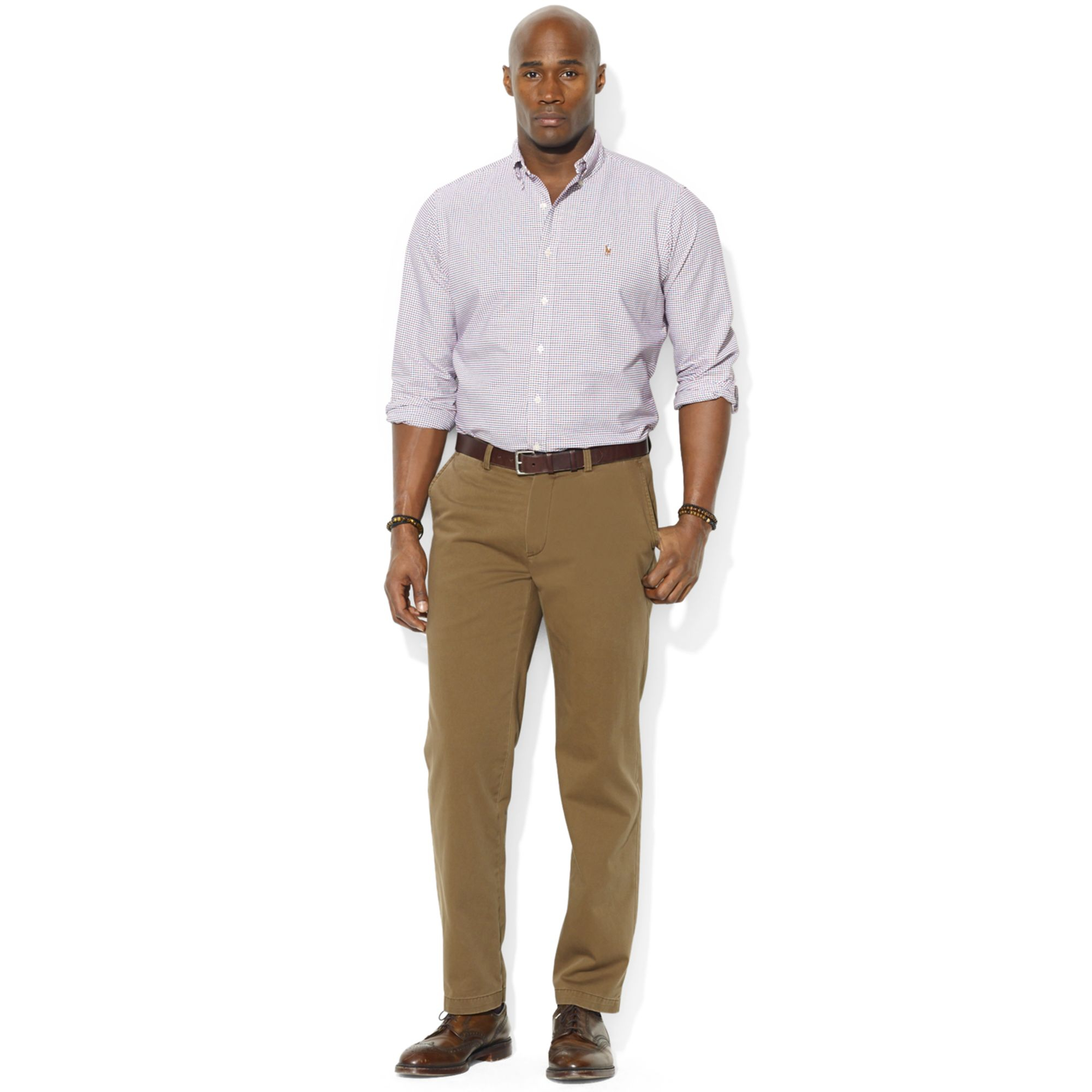 Polo ralph lauren big and tall plaid oxford shirt in red for Mens big and tall burberry shirts