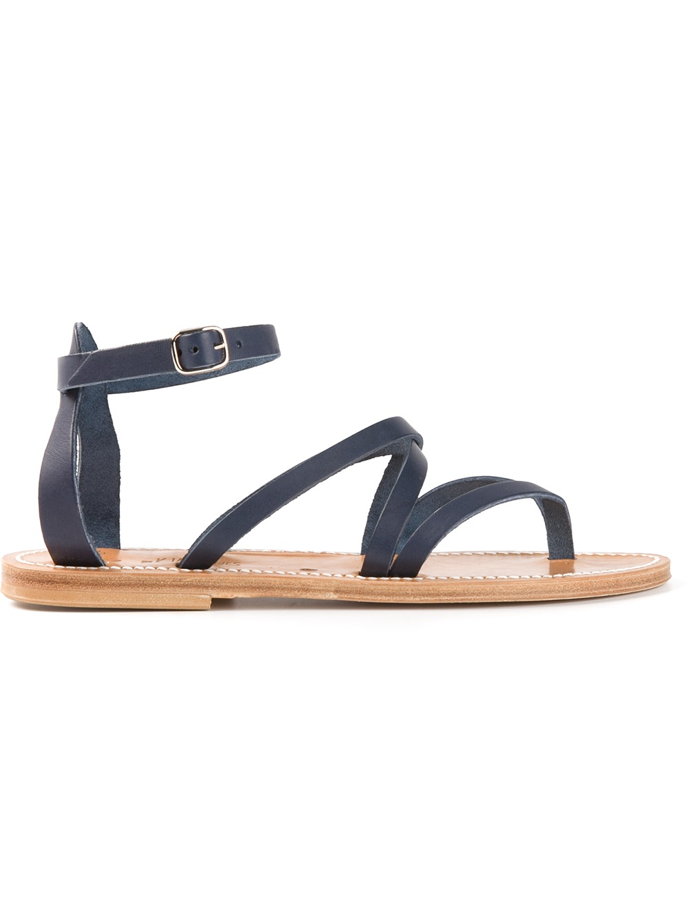 K Jacques Strappy Flat Sandals In Blue Lyst