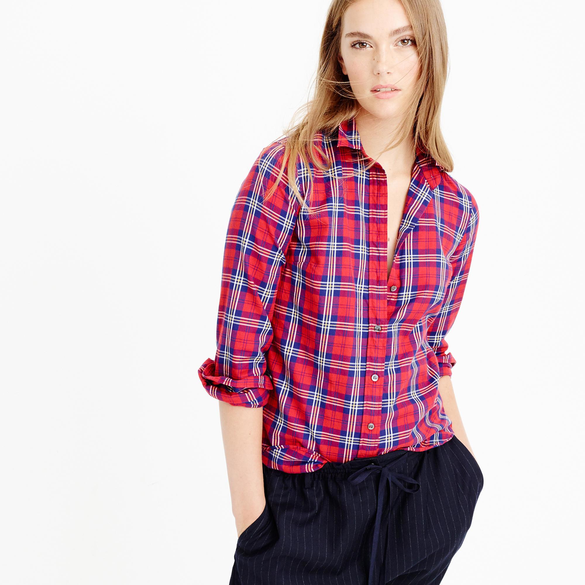 Lyst - J.Crew Thomas Mason Flannel Shirt In Festive Plaid in Red 1782d7786