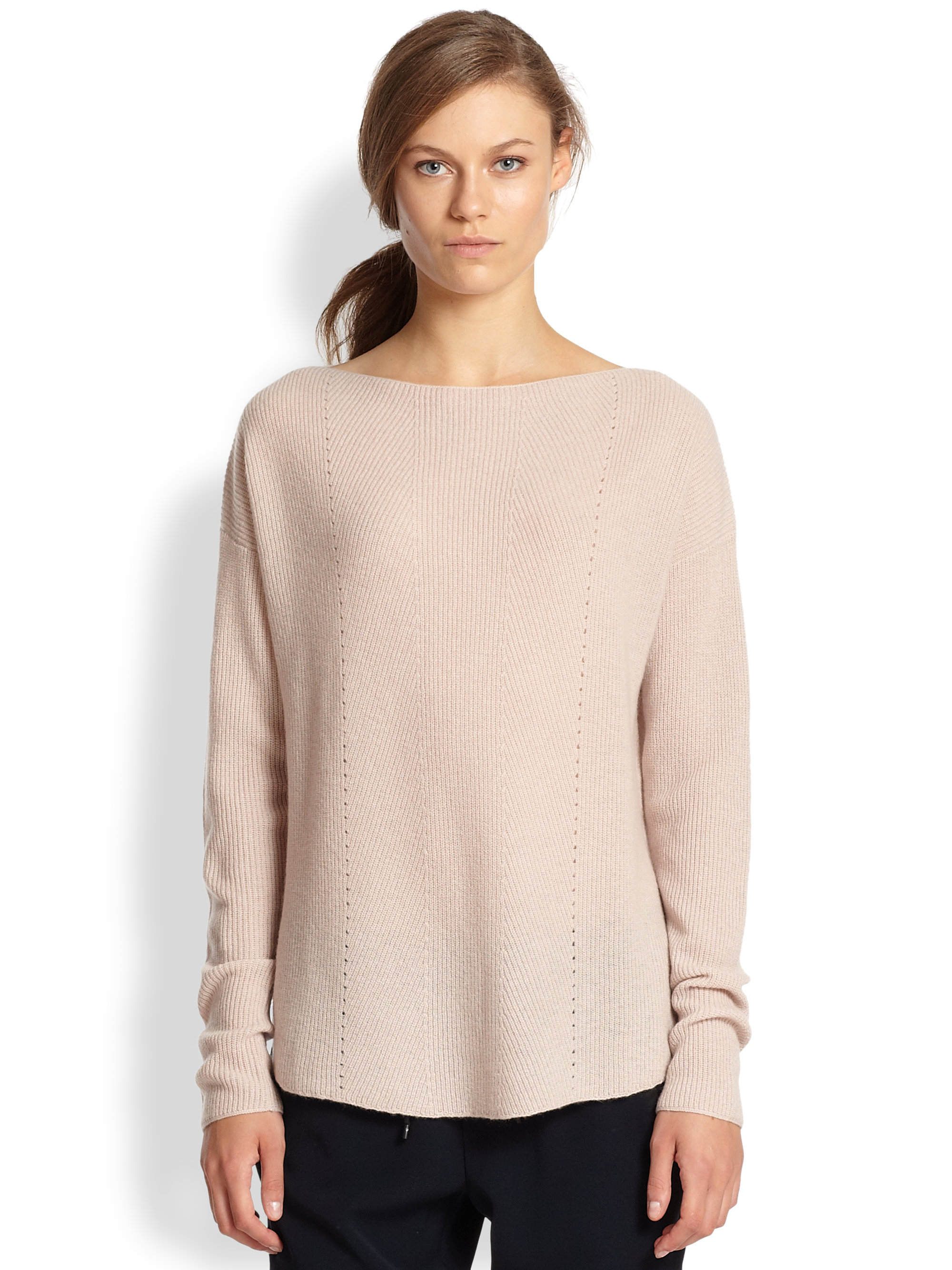 Vince Ribbed Cashmere Relaxed Boatneck Sweater in Pink | Lyst