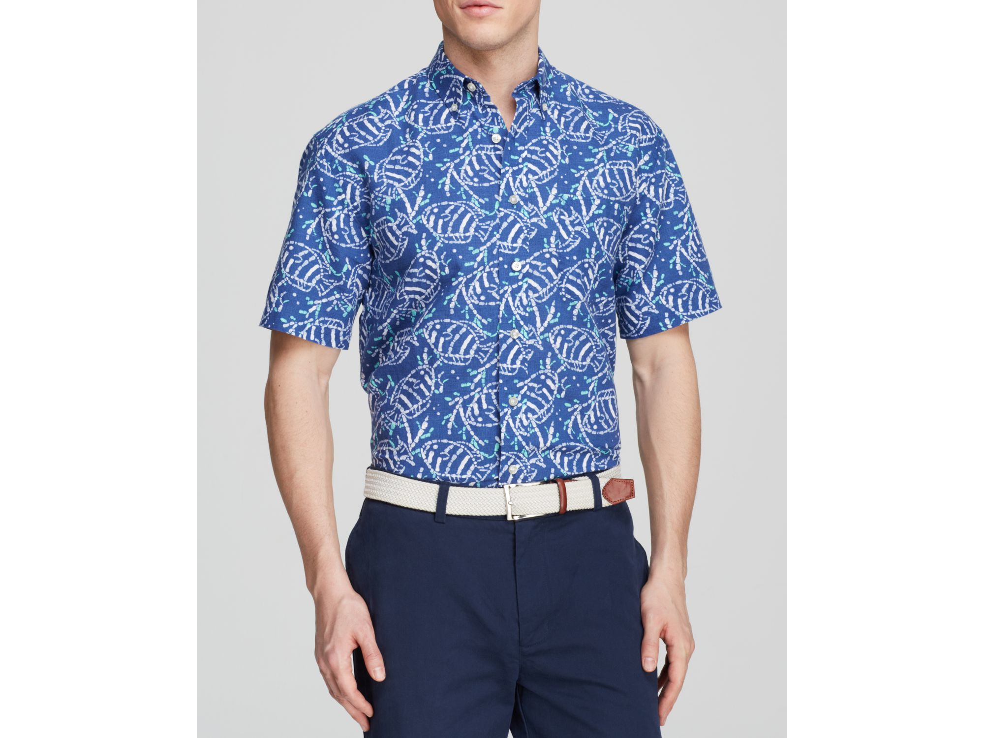 Lyst vineyard vines murray batik fish print button down for Fish print shirt