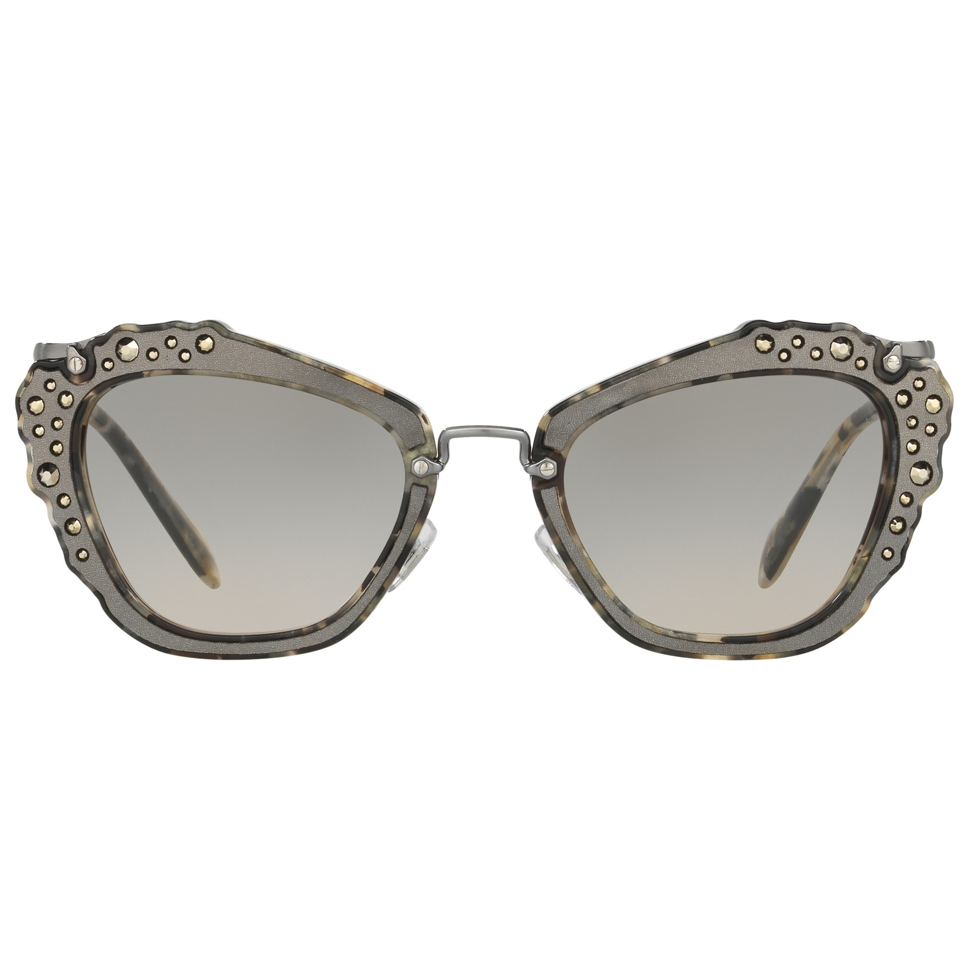 ee90a42aba Miu Miu Mu04qs Embellished Cat s Eye Sunglasses in Black - Lyst