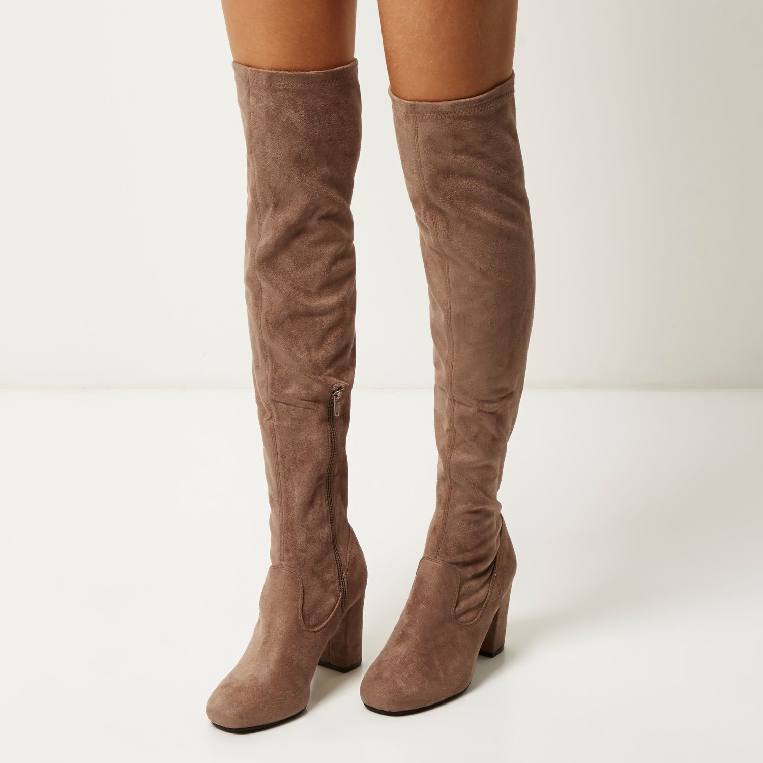 7522feb1e56 River Island Tan Faux Suede Over The Knee Heeled Boots in Gray - Lyst
