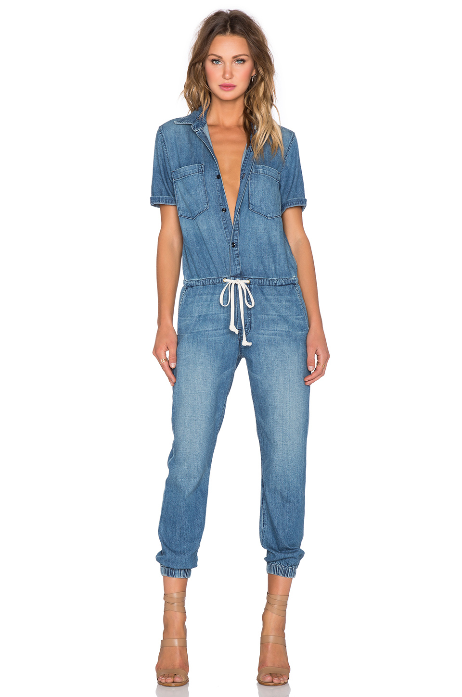 91b60506270 Lyst - Mother Short-Sleeved Denim Jumpsuit in Blue