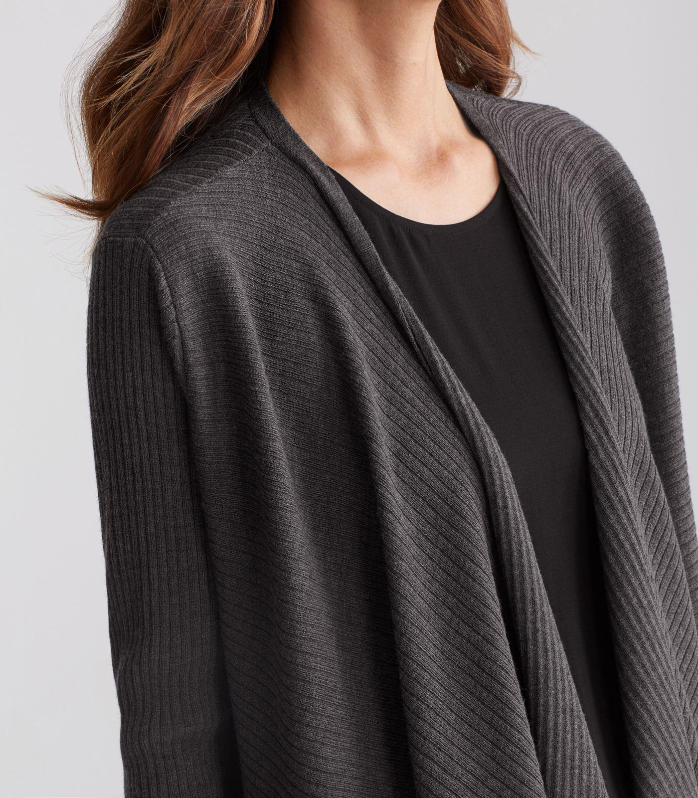 Eileen fisher Washable Wool Crepe Rib Angled Front Wrap Cardigan ...