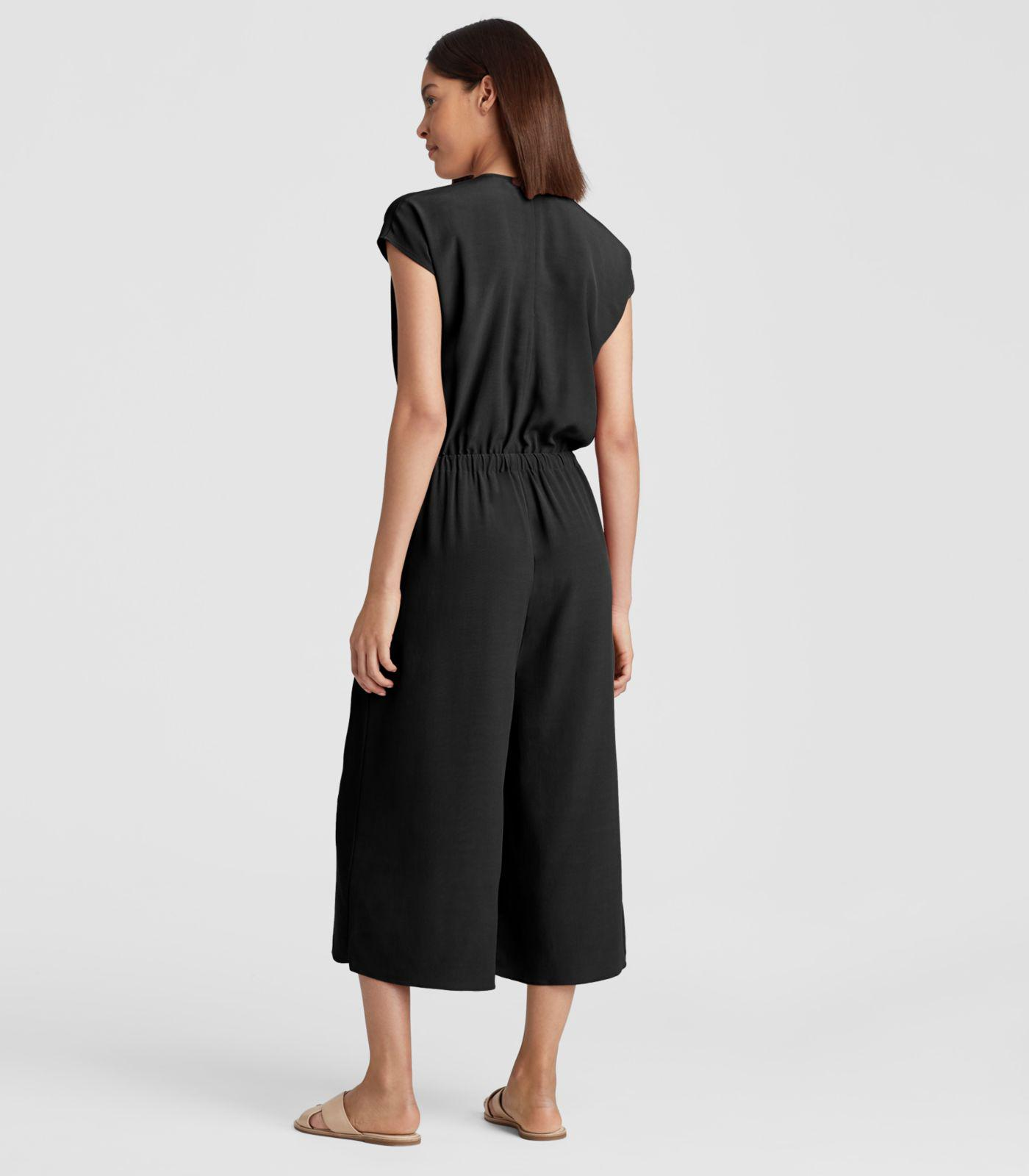 969a406bf8d Eileen Fisher Viscose Crepe Cropped Wide-leg Jumpsuit in Black - Lyst