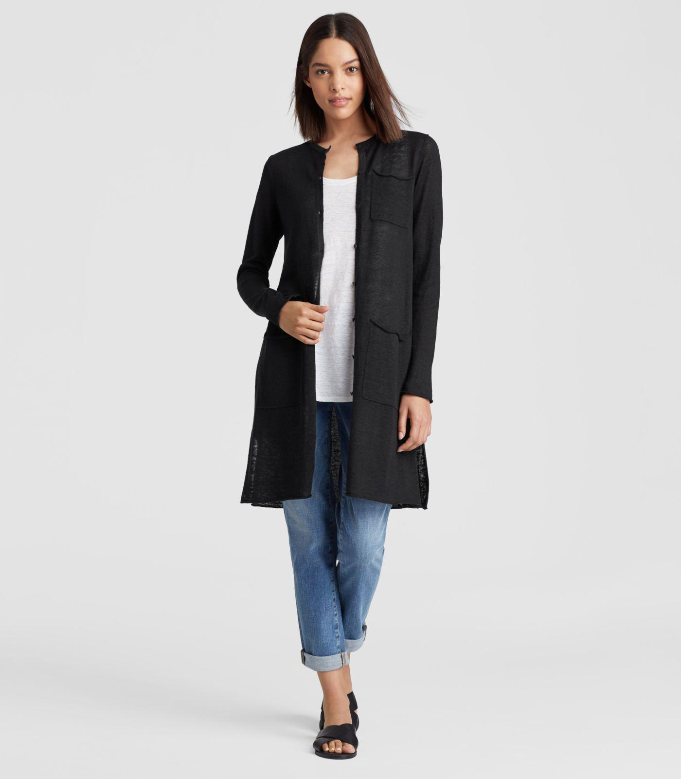 8fad988a5ad Lyst - Eileen Fisher Organic Linen Knit Long Cardigan in Black