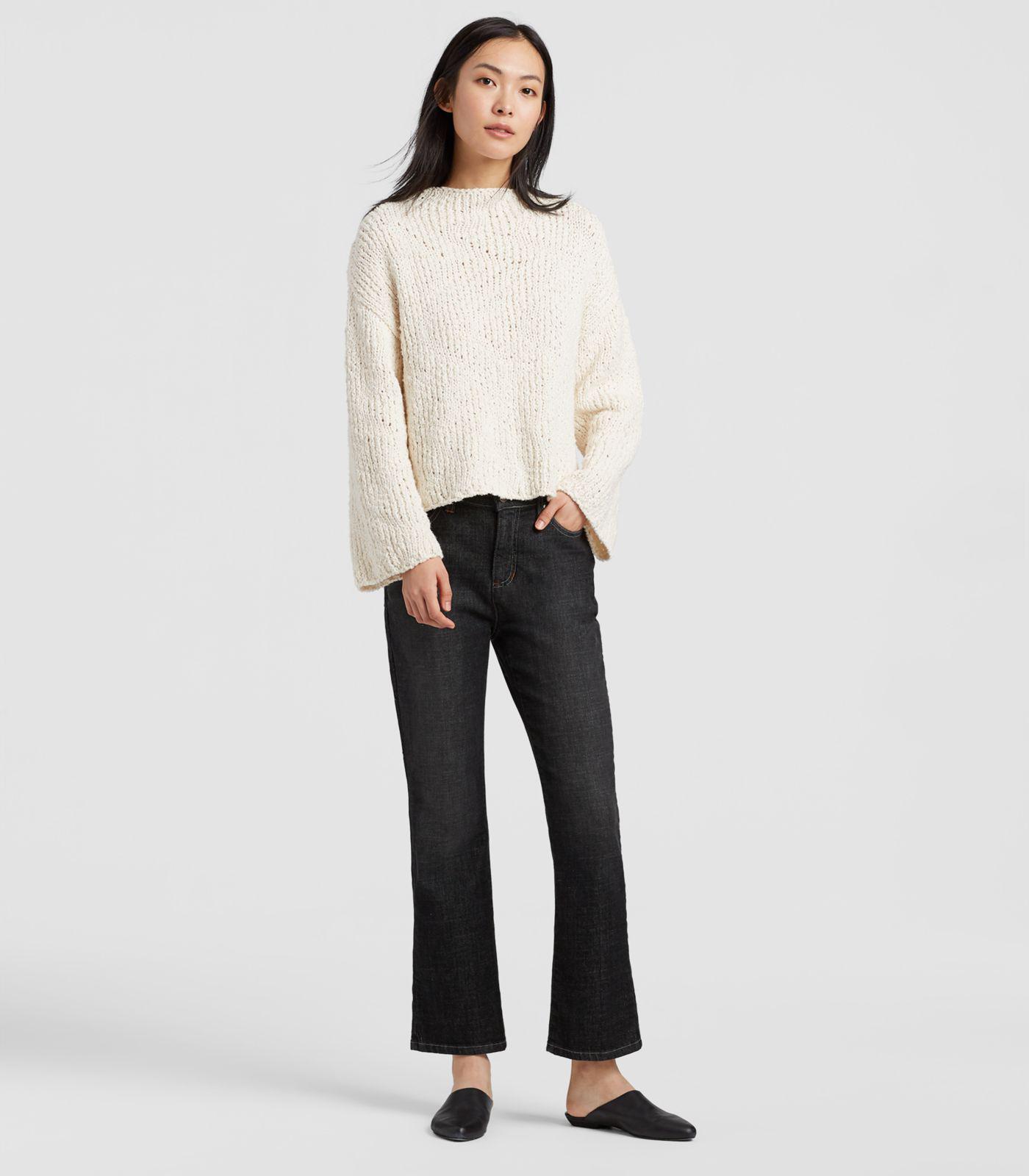 383632042d0209 Lyst - Eileen Fisher Peruvian Organic Cotton Funnel Neck Box-top in ...