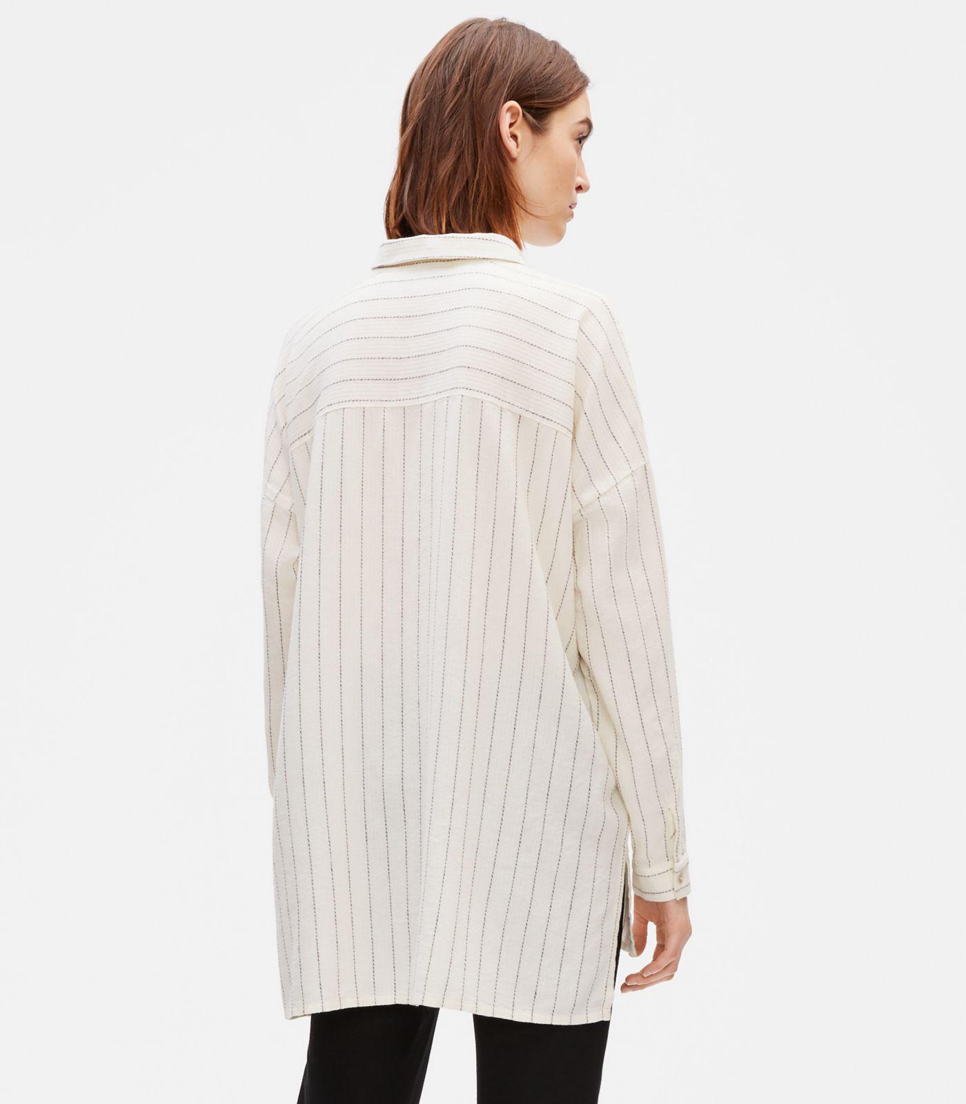 5a36ac990bc747 Lyst - Eileen Fisher Gauzy Organic Cotton Shirt in White