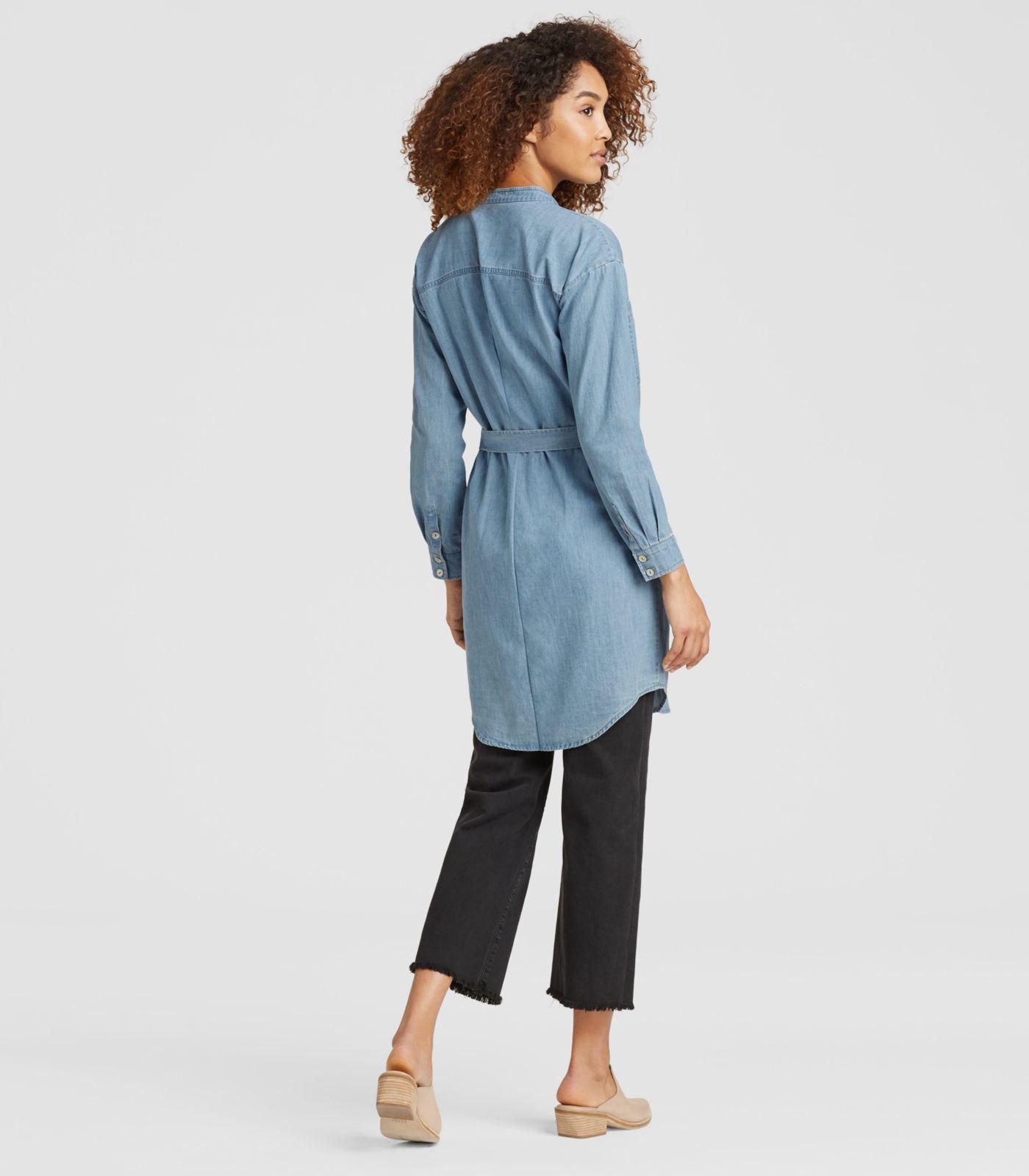 481aa04547f Lyst - Eileen Fisher Organic Cotton Denim Shirt Dress With Tie in Blue