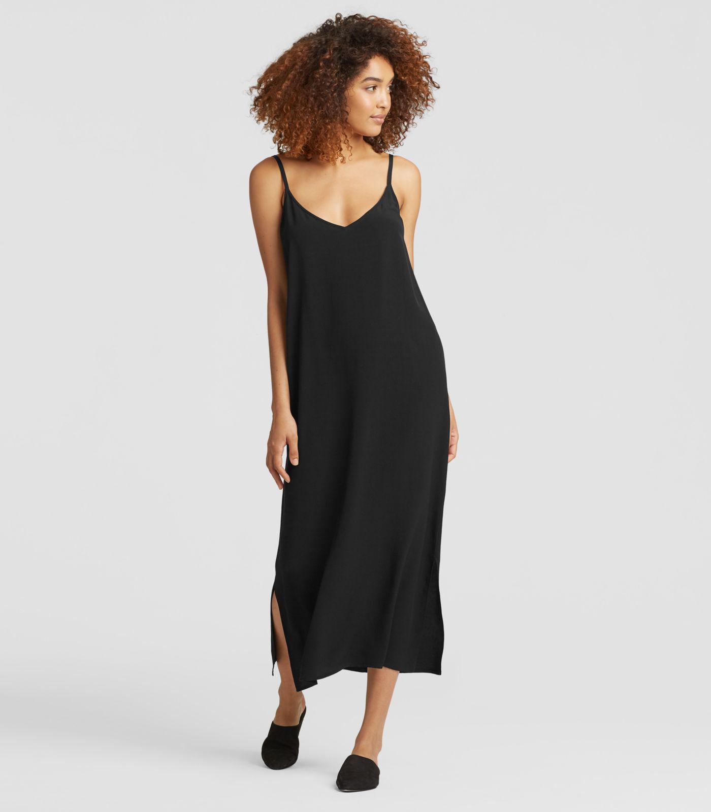 4b7a70e2ca Lyst - Eileen Fisher Viscose Crepe Slip Dress in Black