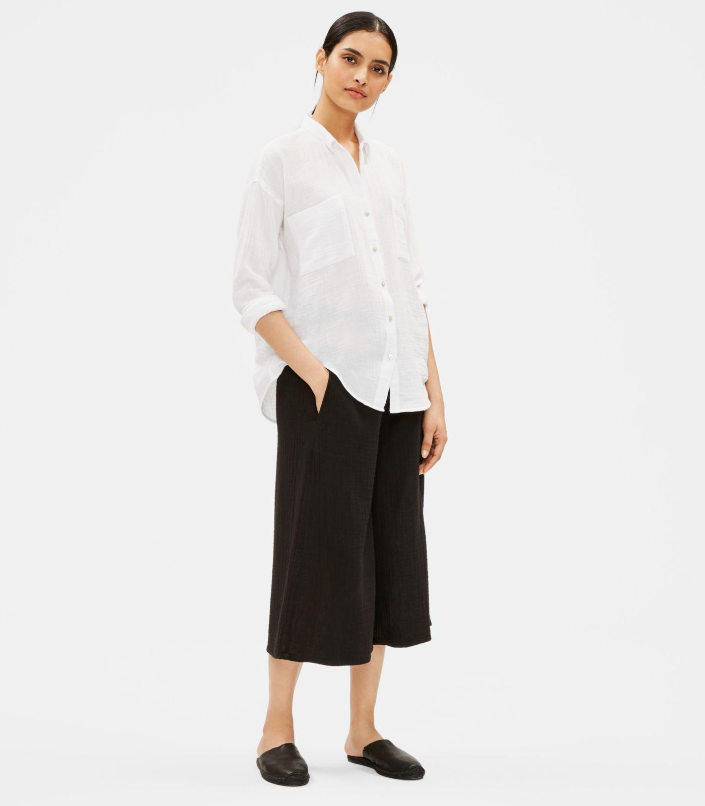 2d6c31c63d6276 Lyst - Eileen Fisher Organic Cotton Gauze Classic Collar Shirt in White