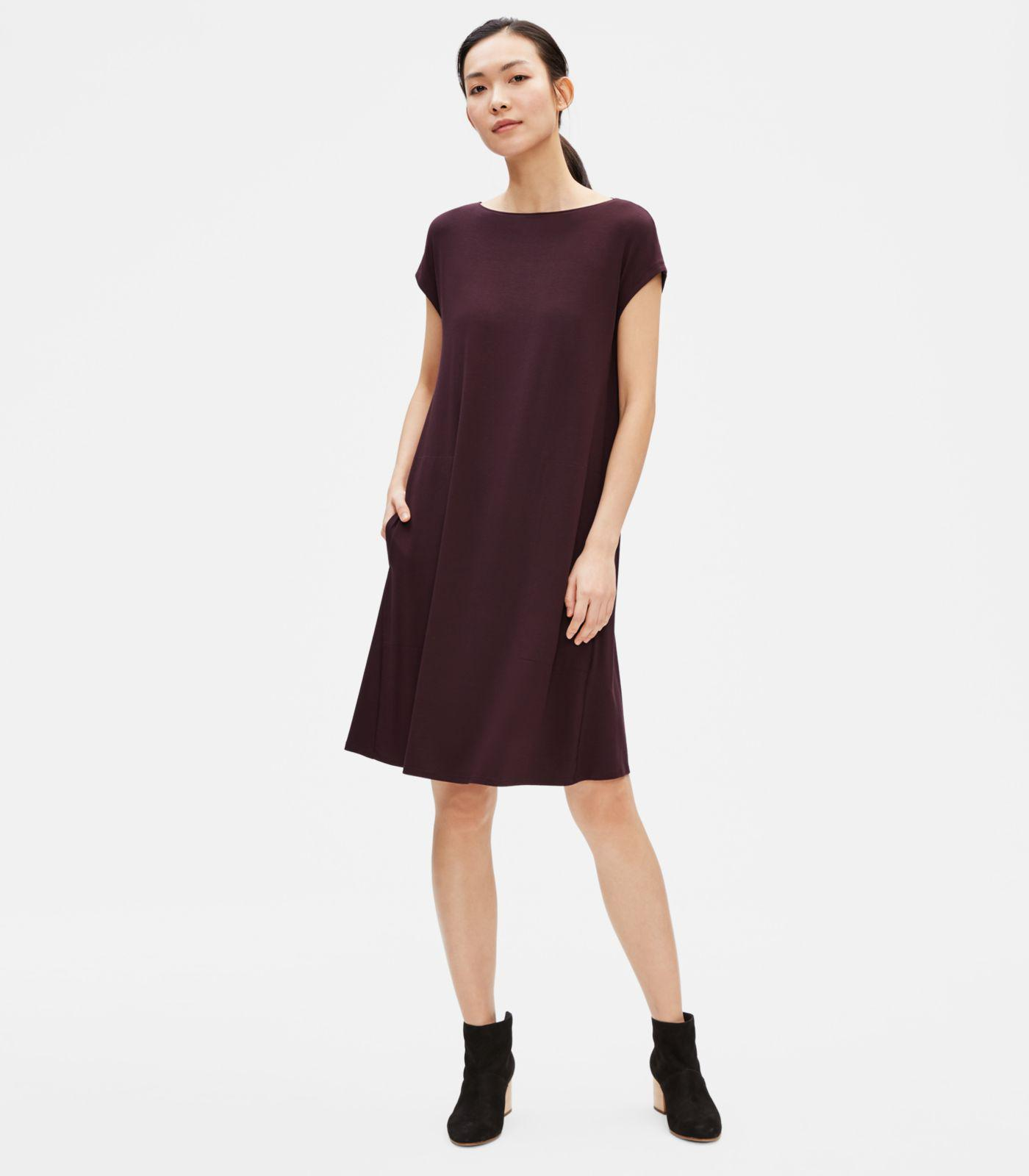 dc7239f27fd48c Lyst - Eileen Fisher Viscose Jersey Dress With Back Twist