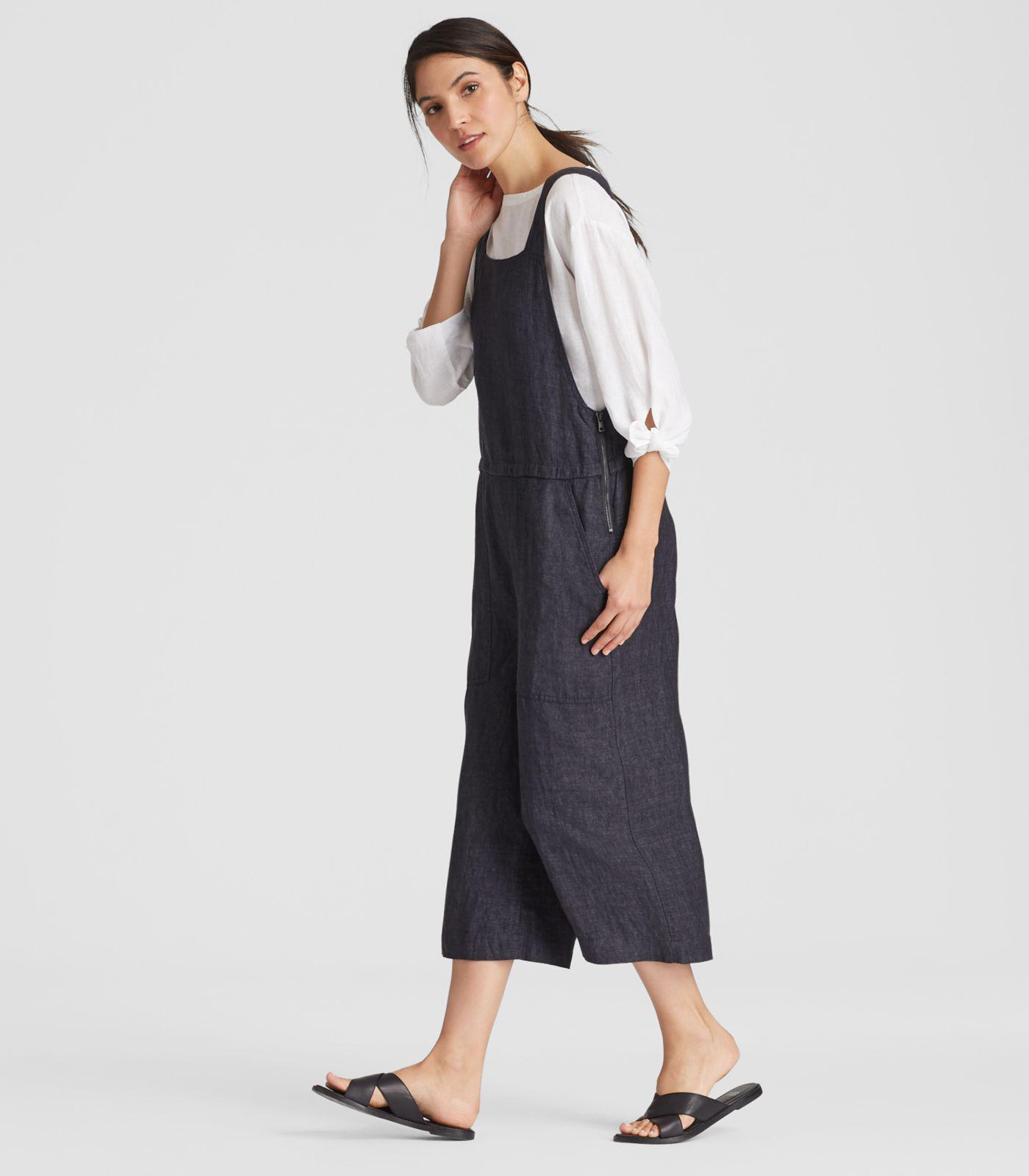 98532f76c87 Eileen Fisher - Blue Organic Linen Delave Cropped Wide-leg Jumpsuit - Lyst