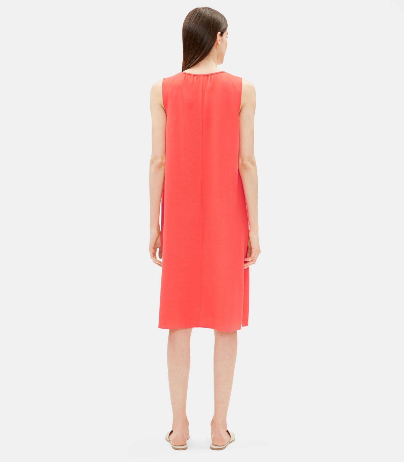 3ed5600b344 Lyst - Eileen Fisher Viscose Crepe Round Neck Dress in Red