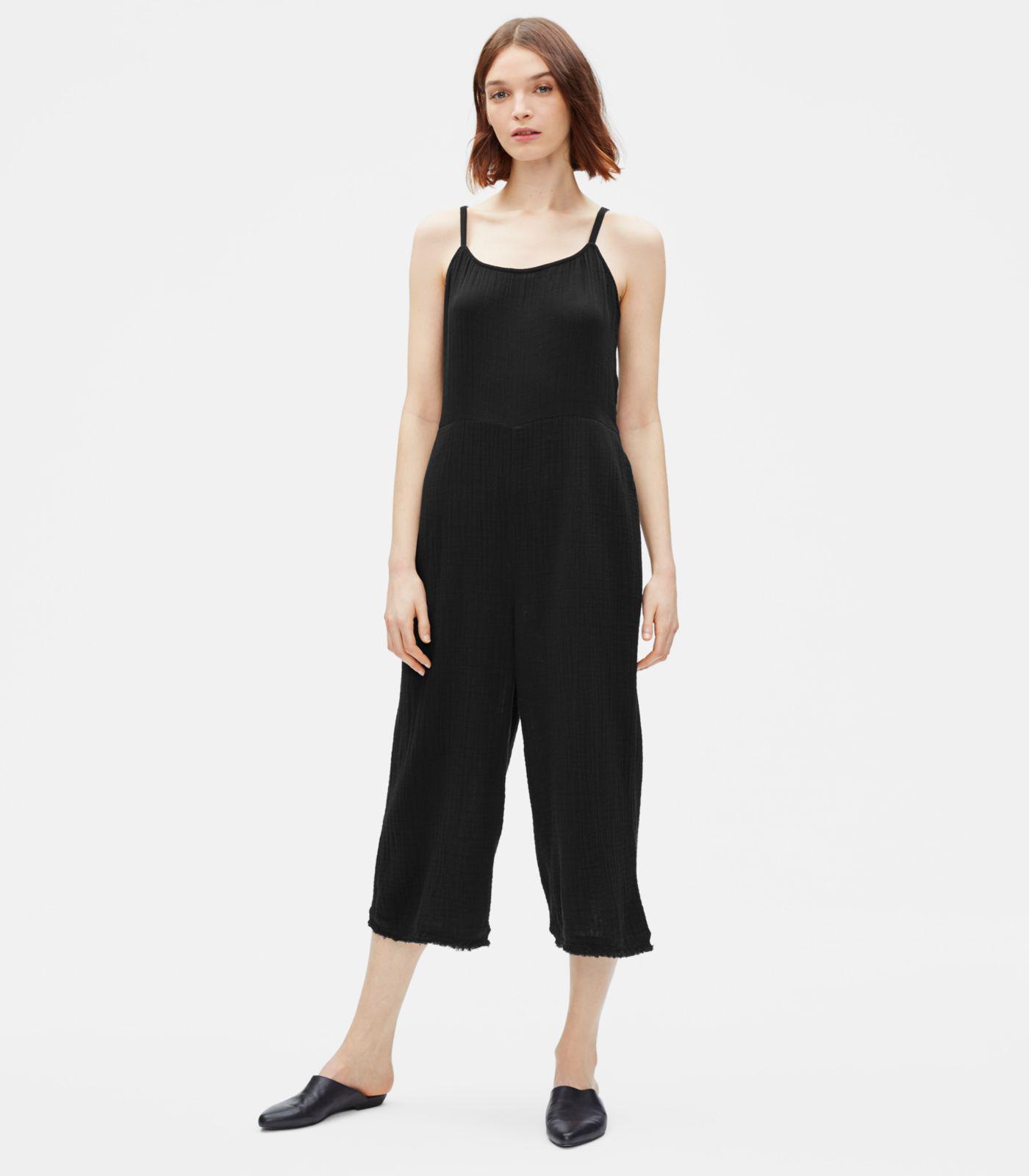 71e788ddda7 Lyst - Eileen Fisher Organic Cotton Gauze Jumpsuit in Black